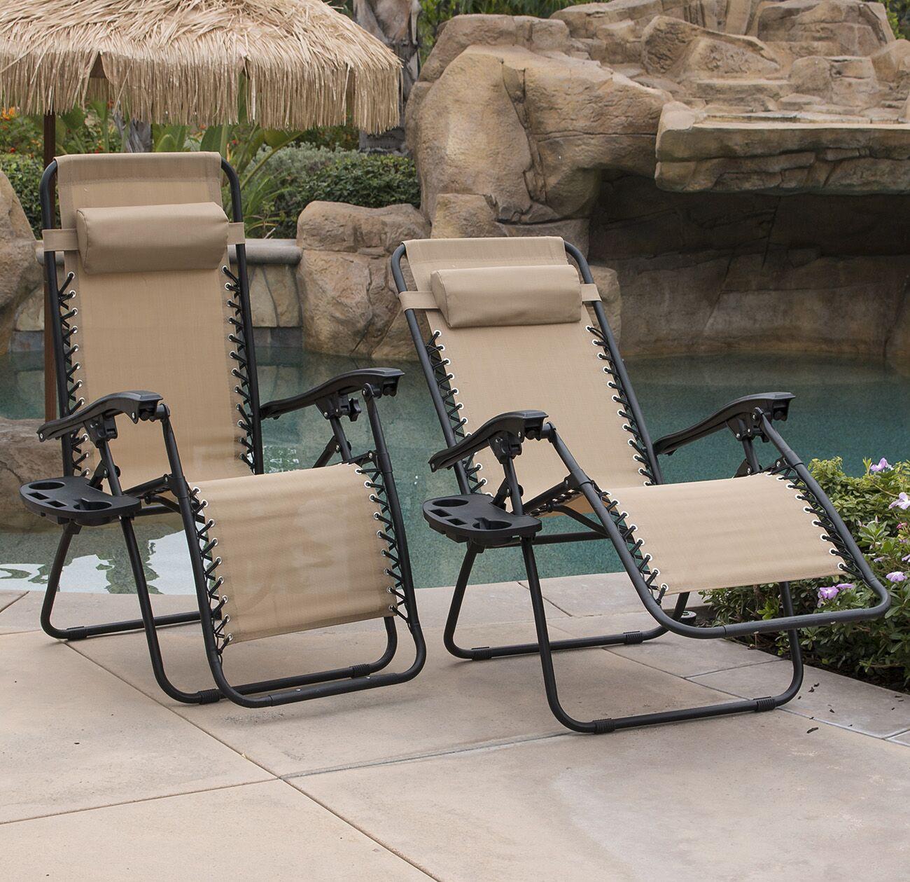Winnett Zero Gravity Chaise Lounge with Cushion Finish: Tan