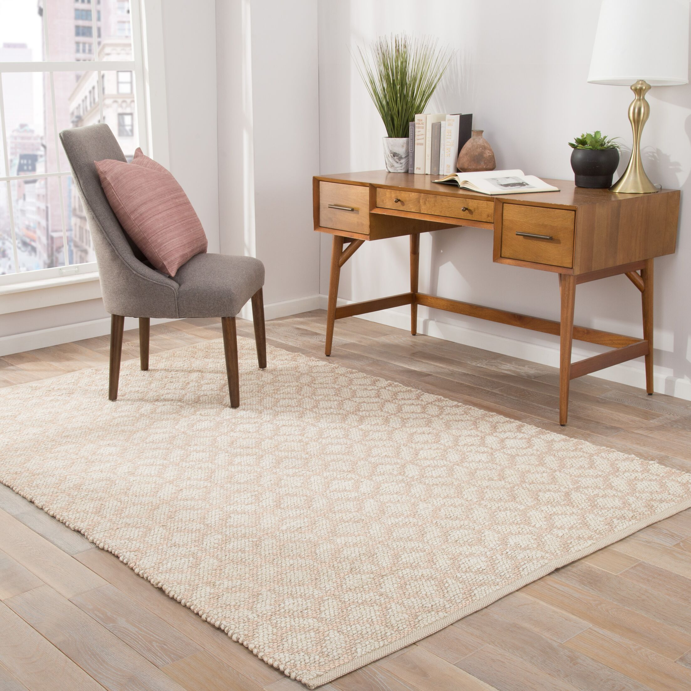 Tadashi Geometric Handmade Ivory Area Rug Rug Size: Rectangle 9' x 12'
