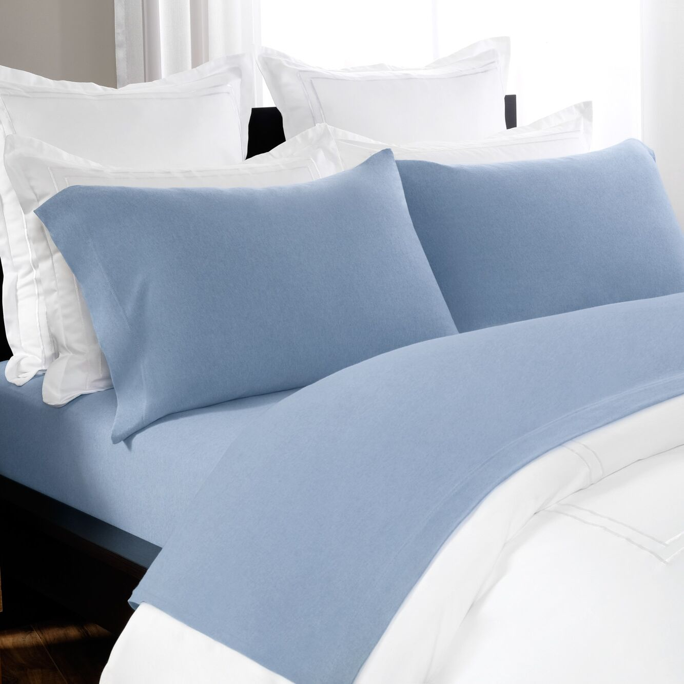 100% Cotton Heathered Jersey Sheet Set Size: King, Color: Blue Chambray