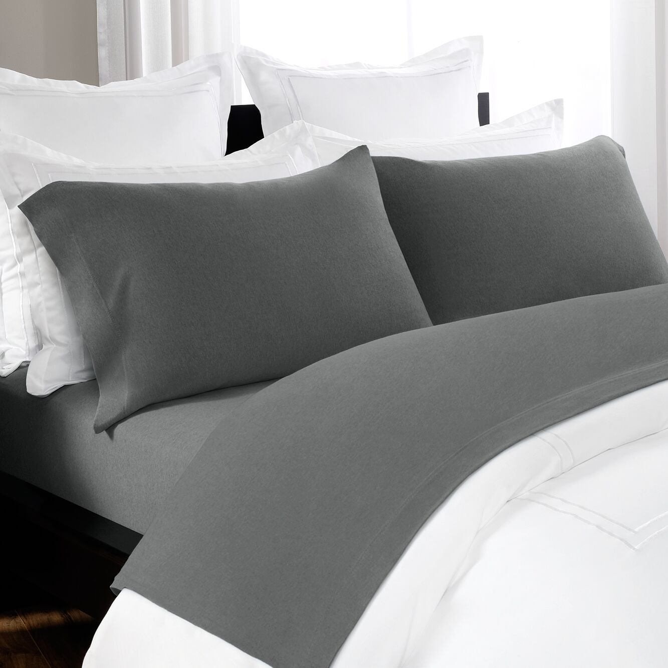 100% Cotton Heathered Jersey Sheet Set Color: Charcoal, Size: California King