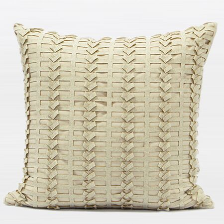 Luxury Handmade Textured Throw Pillow Color: Beige