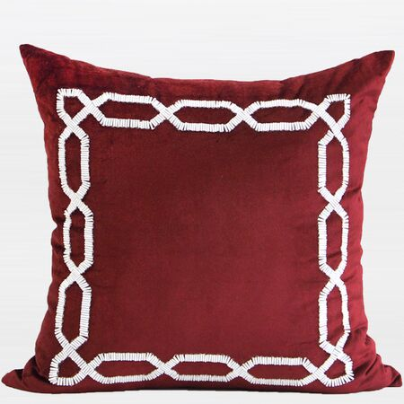 Handmade Textured Frame Beaded Throw Pillow Color: Red