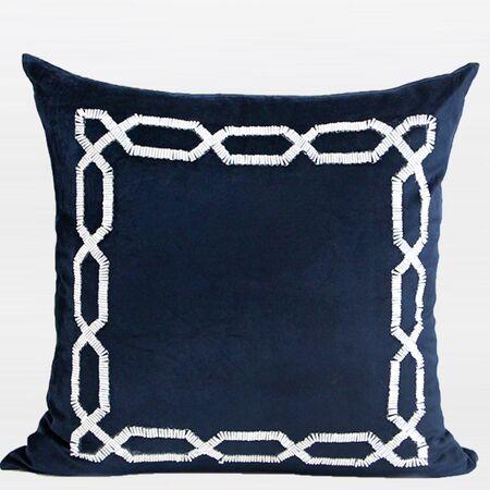 Handmade Textured Frame Beaded Pillow Cover Color: Blue