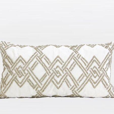 Handmade Textured Beaded Lumbar Pillow Color: Gold