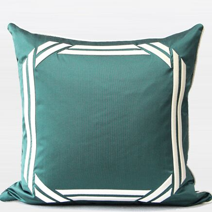 Embroidered Modern Frame Textured Pillow Cover