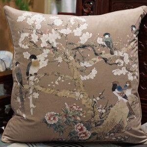 Bird Printing Throw Pillow Color: Brown