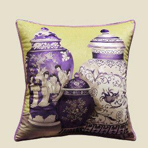 Vase Throw Pillow Color: Purple/Yellow