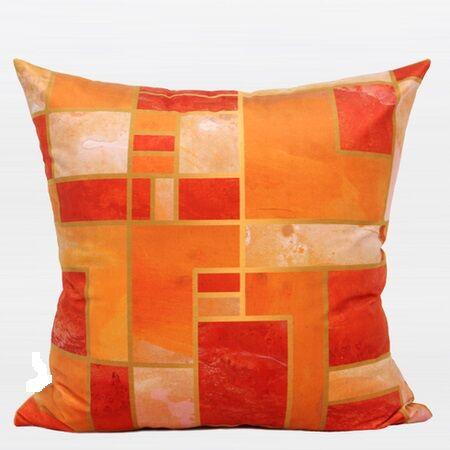 Luxury Geometry Digital Printing Flannel Throw Pillow Color: Orange