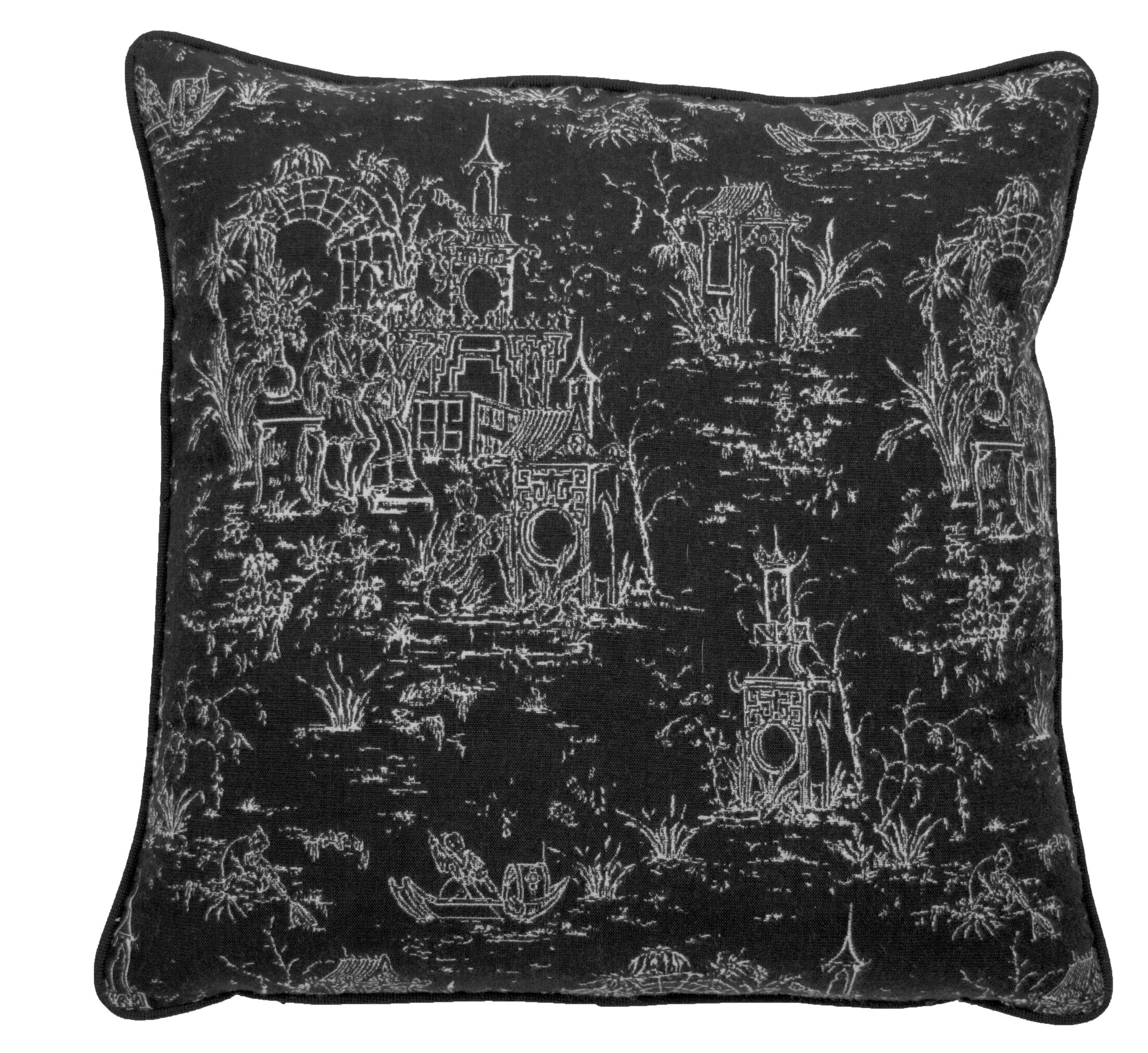 Osaka Toile Indoor/Outdoor Throw Pillow (Set of 2) Color: Midnight, Size: 22