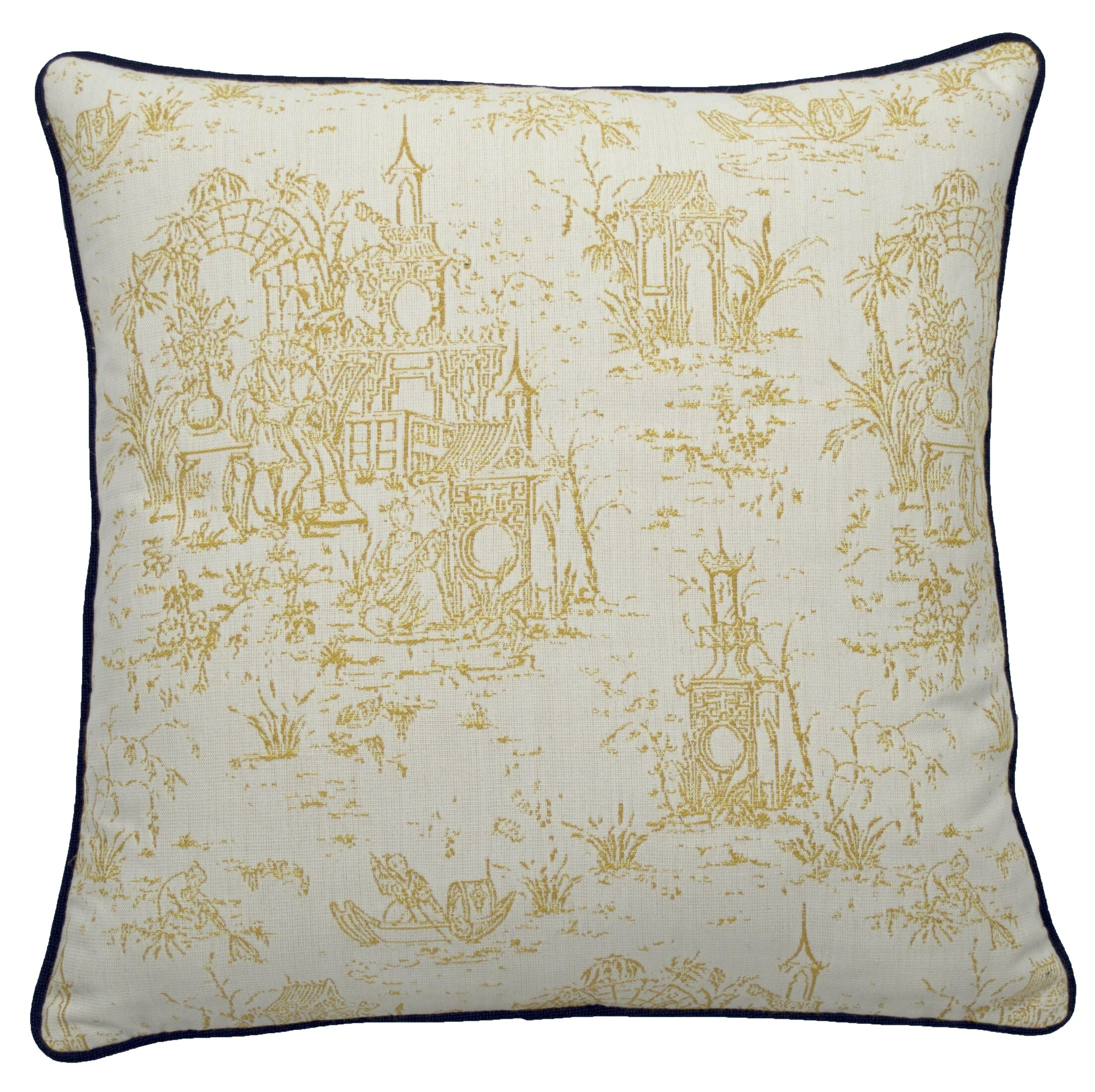 Osaka Toile Indoor/Outdoor Throw Pillow (Set of 2) Color: Mustard/Indigo, Size: 24