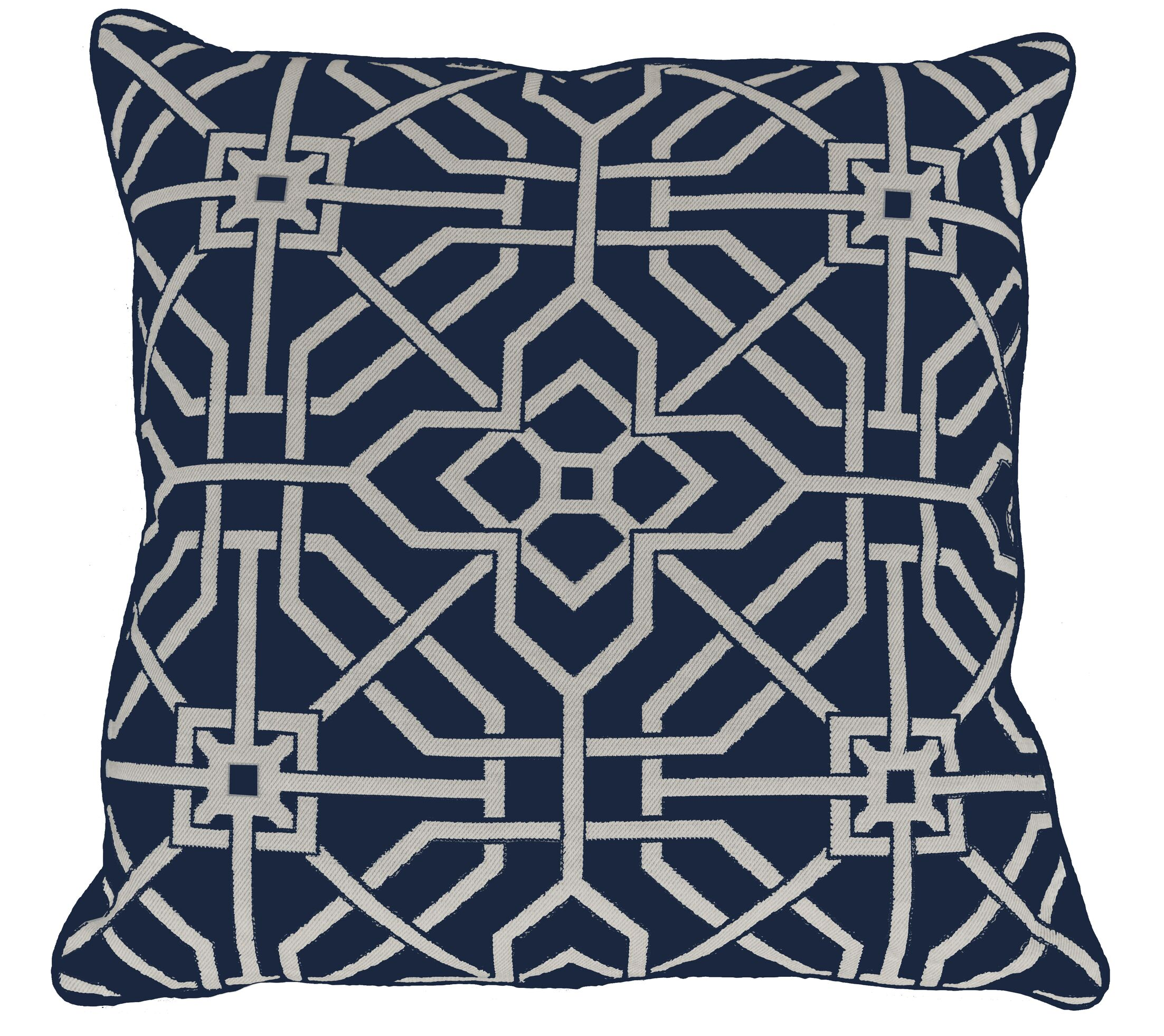 Port Palace Indoor/Outdoor Throw Pillow (Set of 2) Color: Indigo, Size: 22
