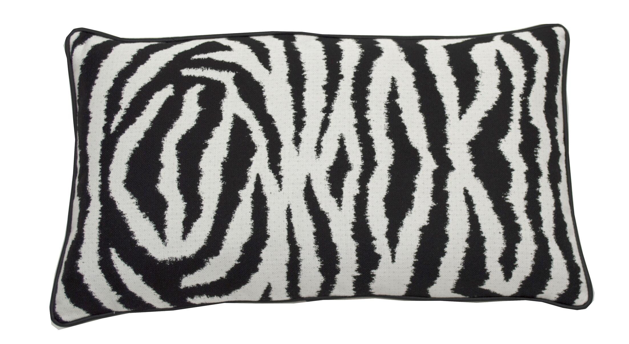Zebra Indoor/Outdoor Lumbar Pillow (Set of 2) Color: Midnight