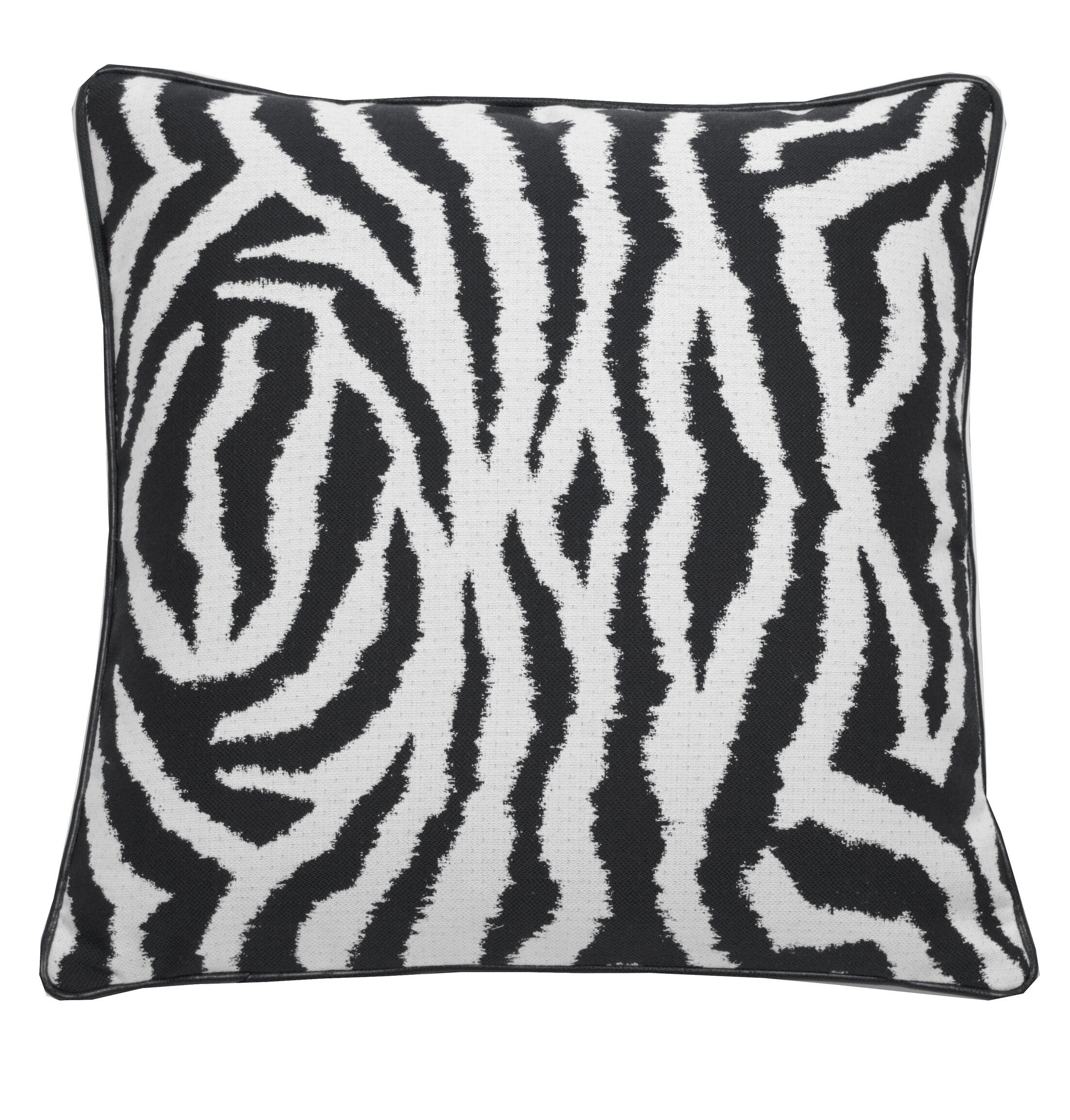 Zebra Indoor/Outdoor Throw Pillow (Set of 2) Color: Midnight, Size: 20