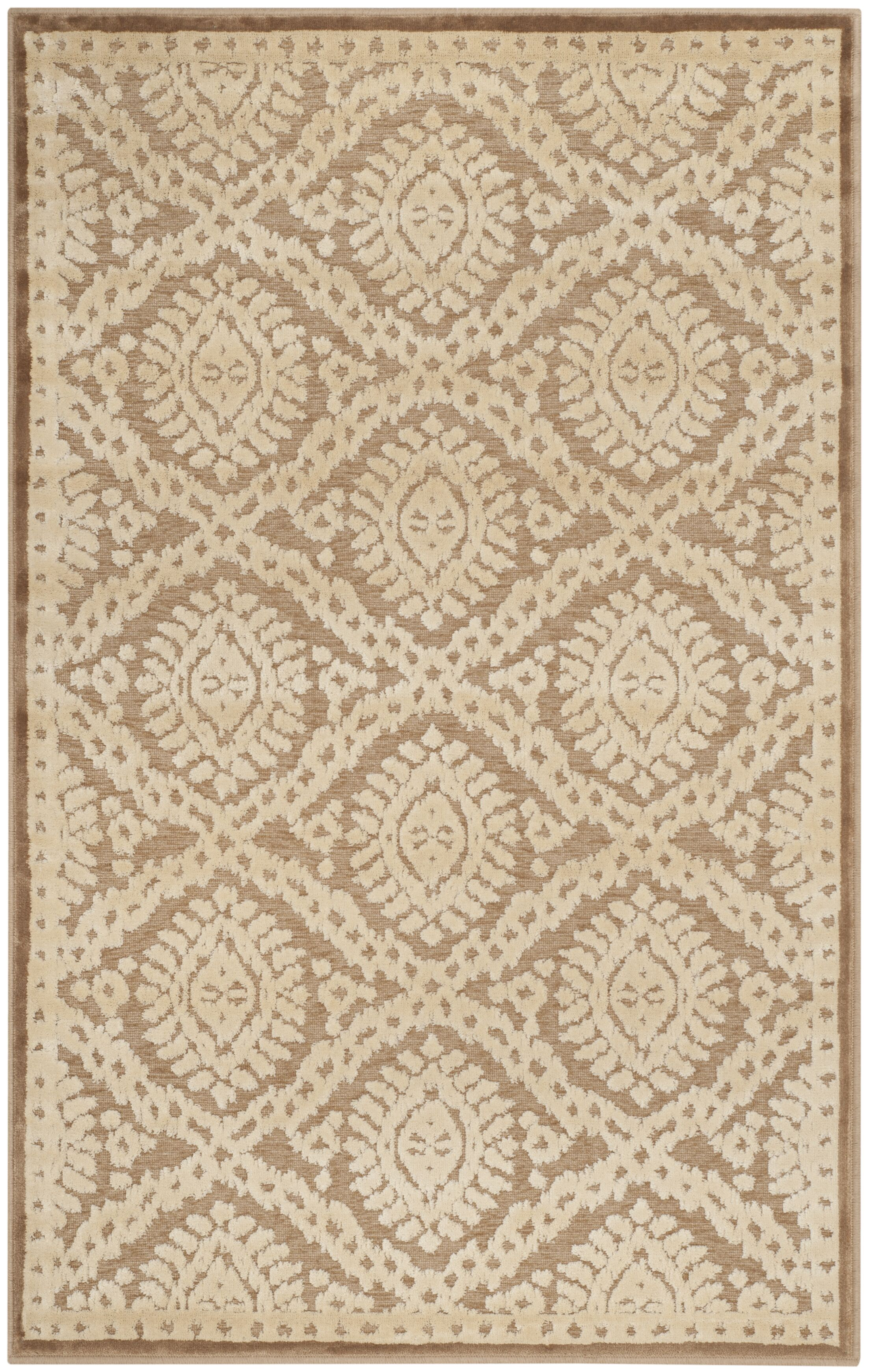 Hand-Loomed Taupe/Beige Area Rug Rug Size: Rectangle 5'3