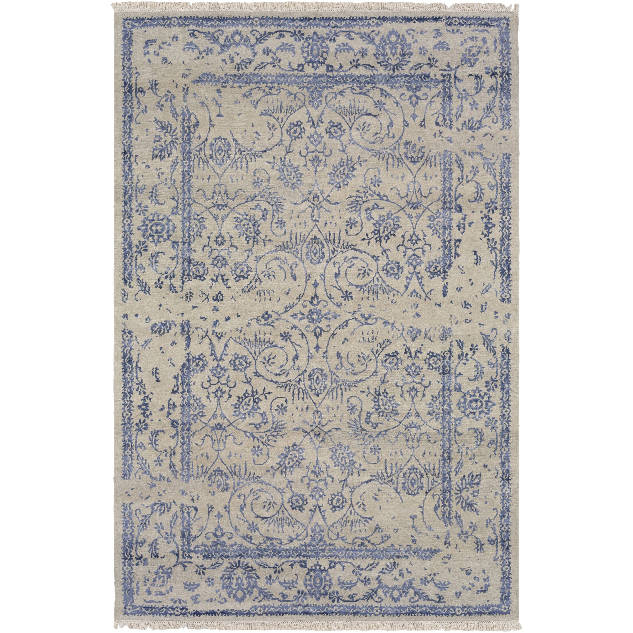 Marwan Hand-Knotted Light Gray Area Rug Rug Size: Rectangle 9' x 13'