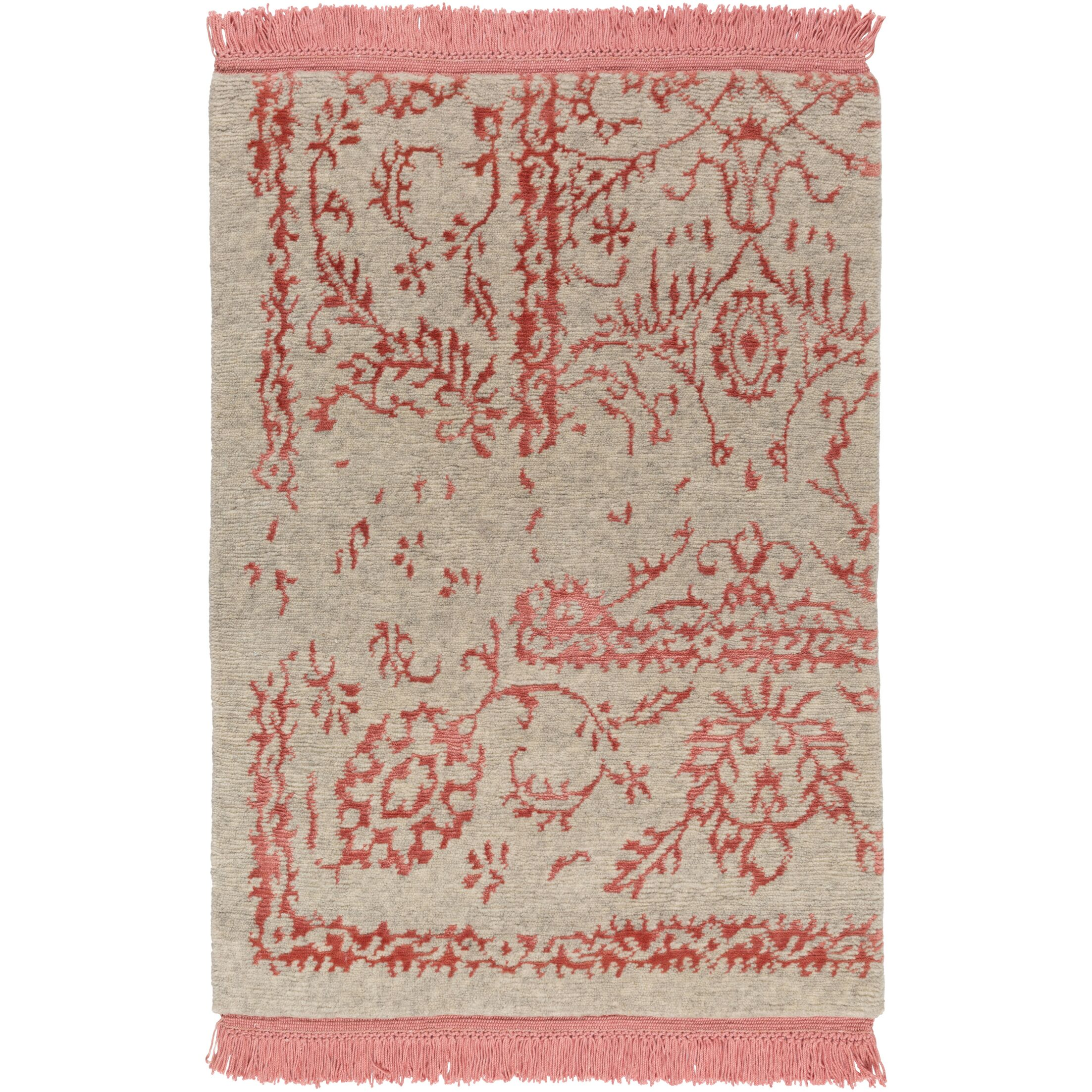 Marwan Hand-Knotted Coral/Khaki Area Rug Rug Size: Rectangle 2' x 4'