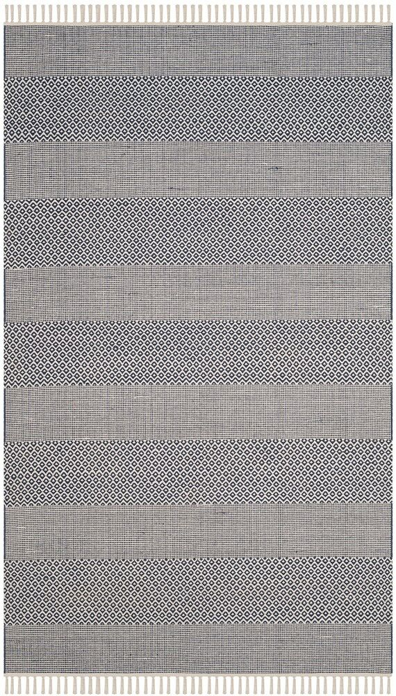 Jermyn Hand-Woven Ivory/Navy Area Rug Rug Size: Rectangle 6' x 9'