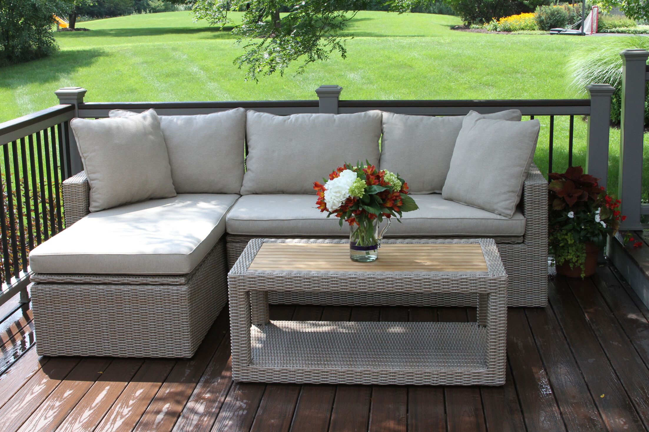 Dillon 3 Piece Teak Sectional Set with Cushions