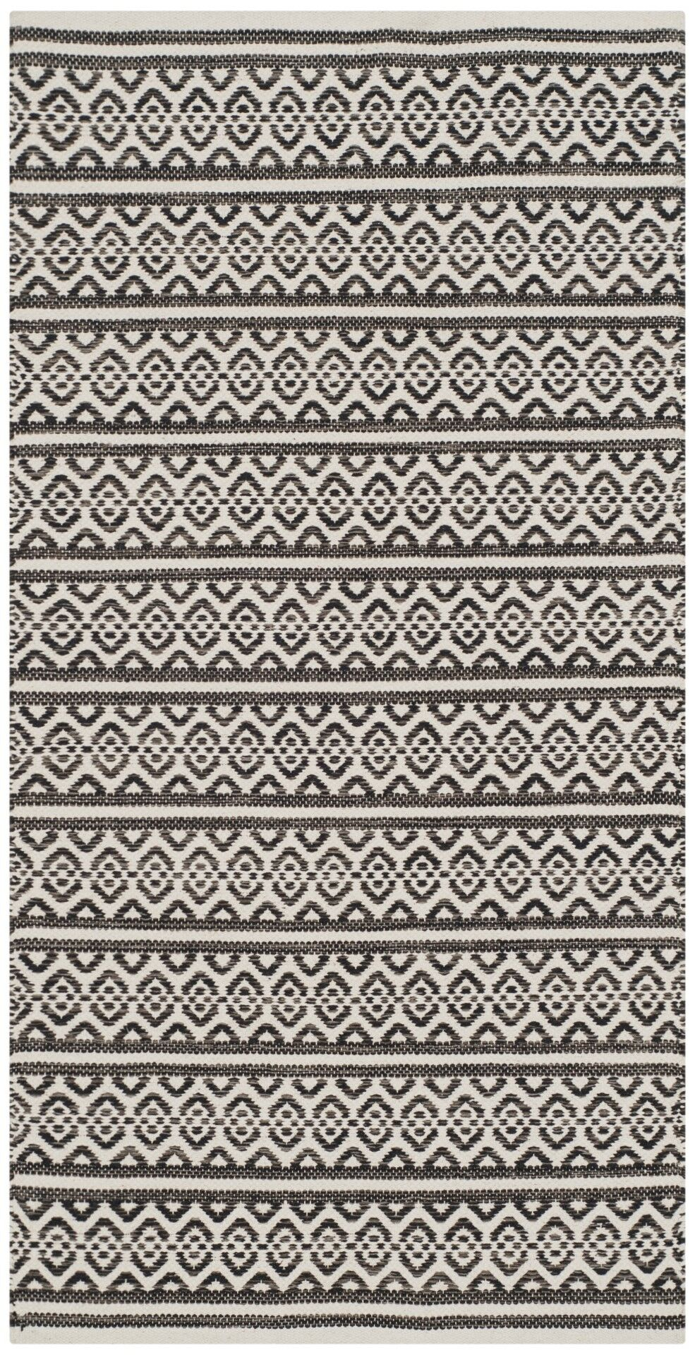 Oxbow Hand-Woven Cotton Ivory/Black Area Rug Rug Size: Square 6'