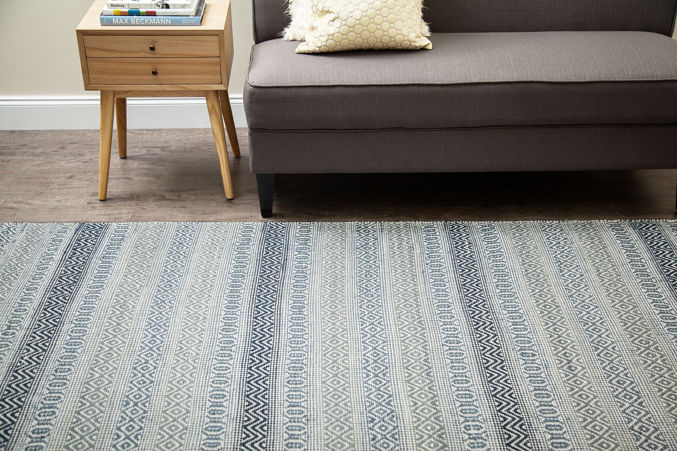 Pickering Hand-Woven Blue/Ivory Area Rug Rug Size: Runner 2'6
