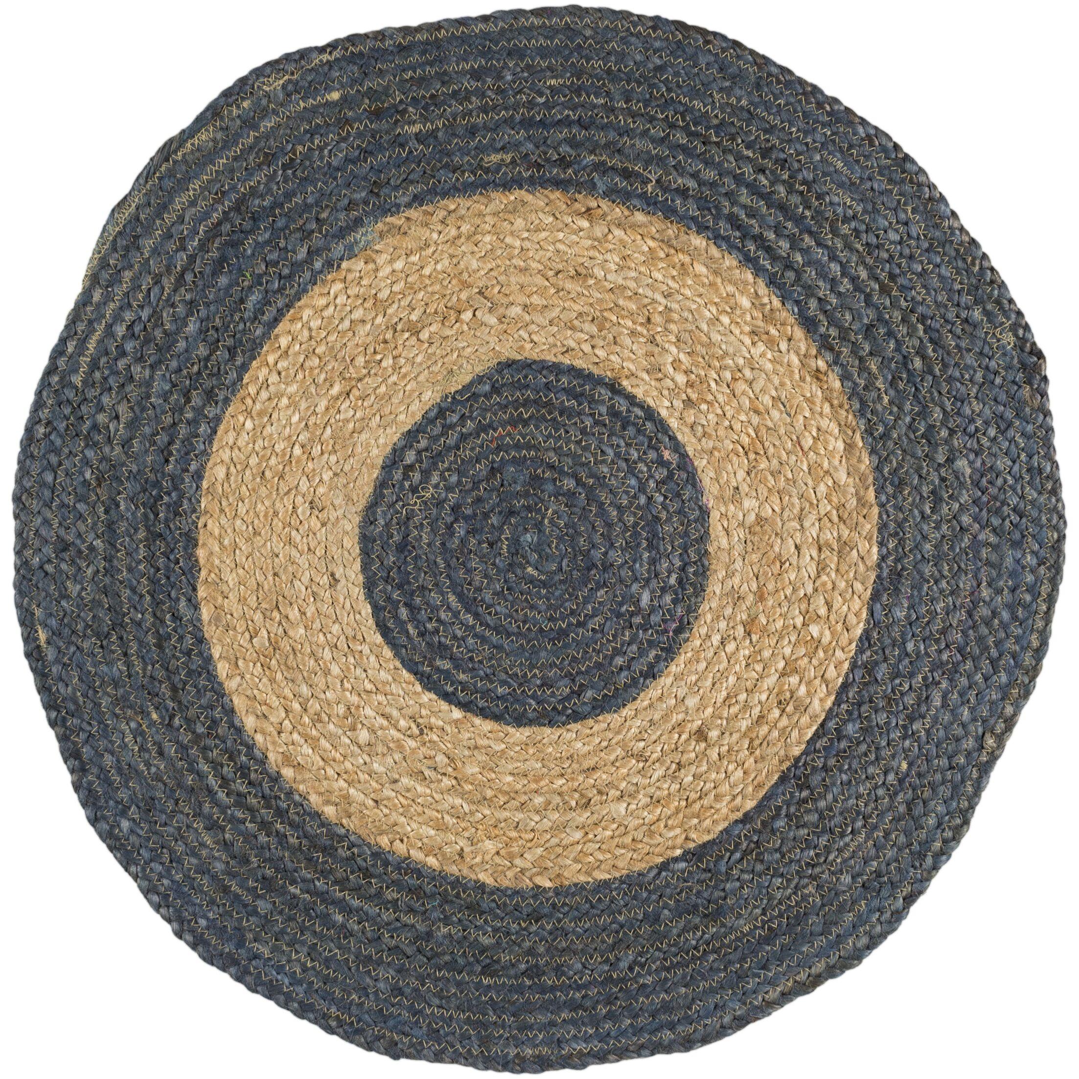 Koppel Hand-Woven Dark Blue/Beige Area Rug Rug Size: Round 5'