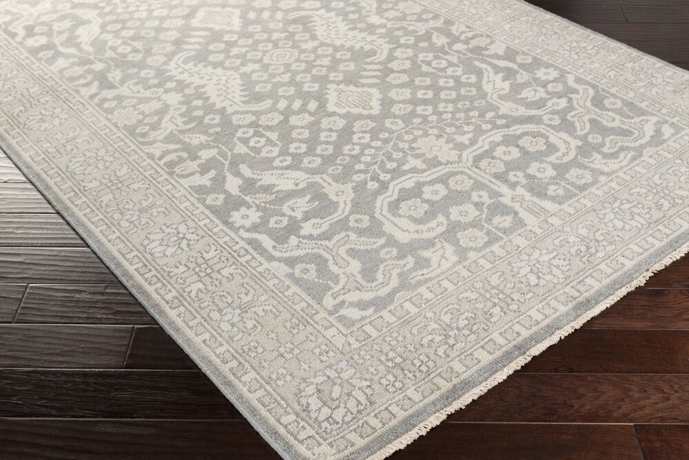 Karlee Hand-Knotted Medium Gray Area Rug Rug Size: 8' x 10'