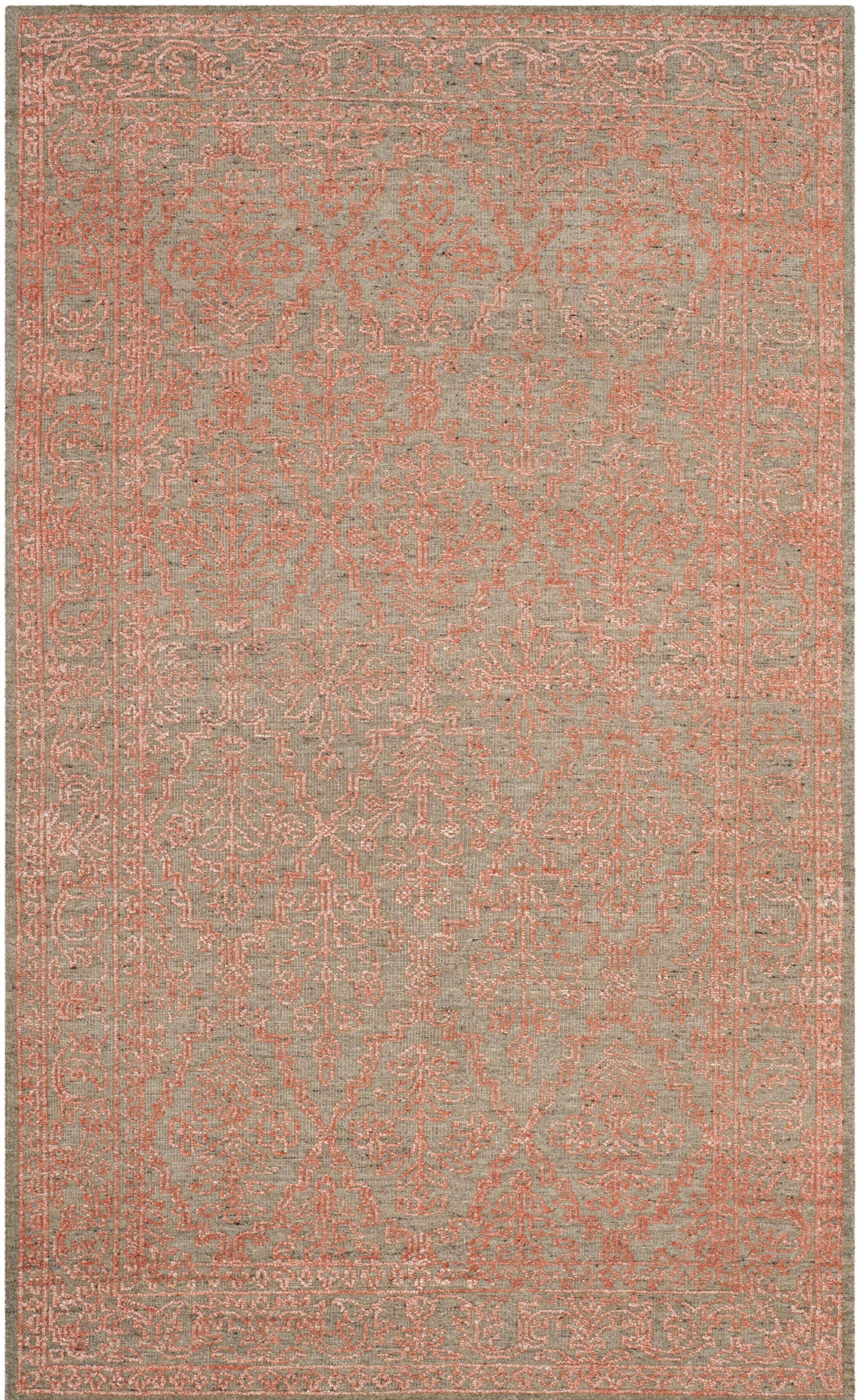 Lahcen Hand-Knotted Gray/Orange Area Rug Rug Size: Rectangle 6' x 9'