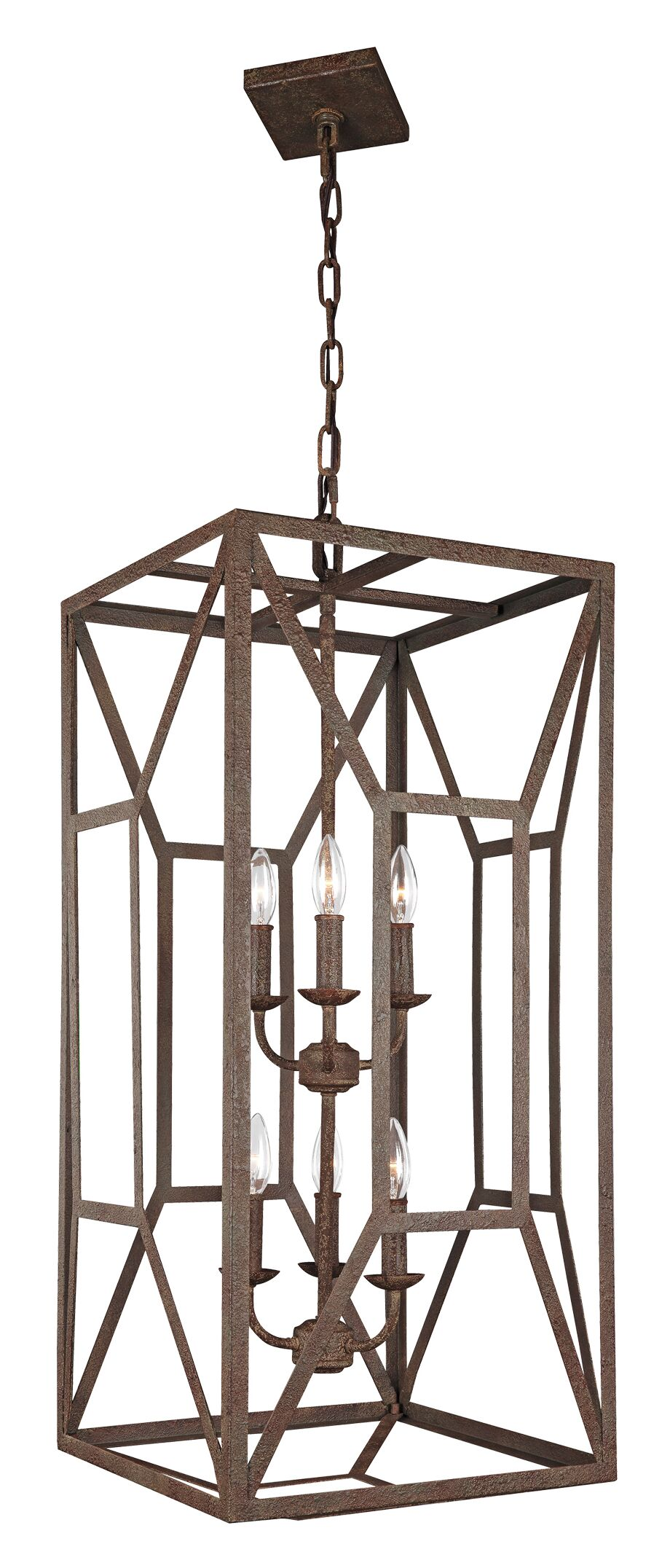 Jayanth 6-Light Square/Rectangle Chandelier Finish: Weathered Iron