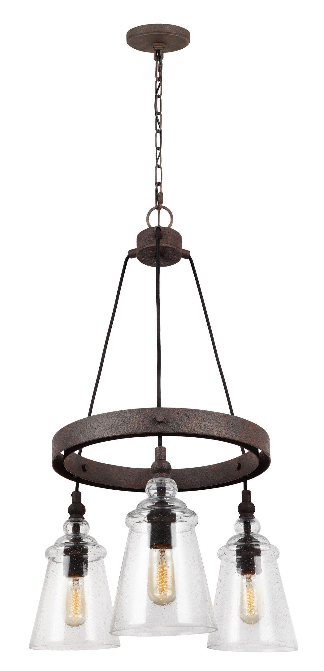 Sharwari 3-Light Wagon Wheel Chandelier Finish: Dark Weathered Iron