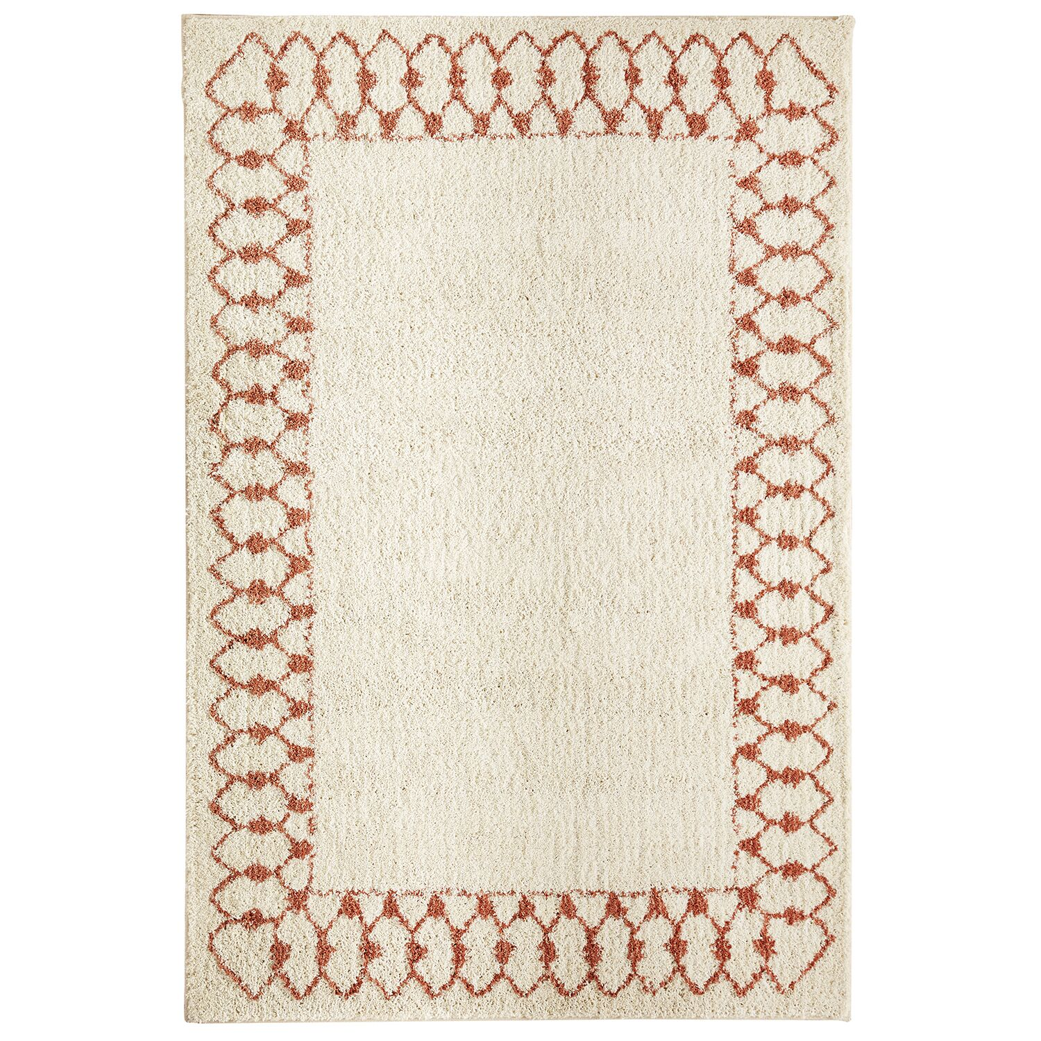 Cavanaville Chained Border Beige/Coral Area Rug Rug Size: Rectangle 8' x 10'