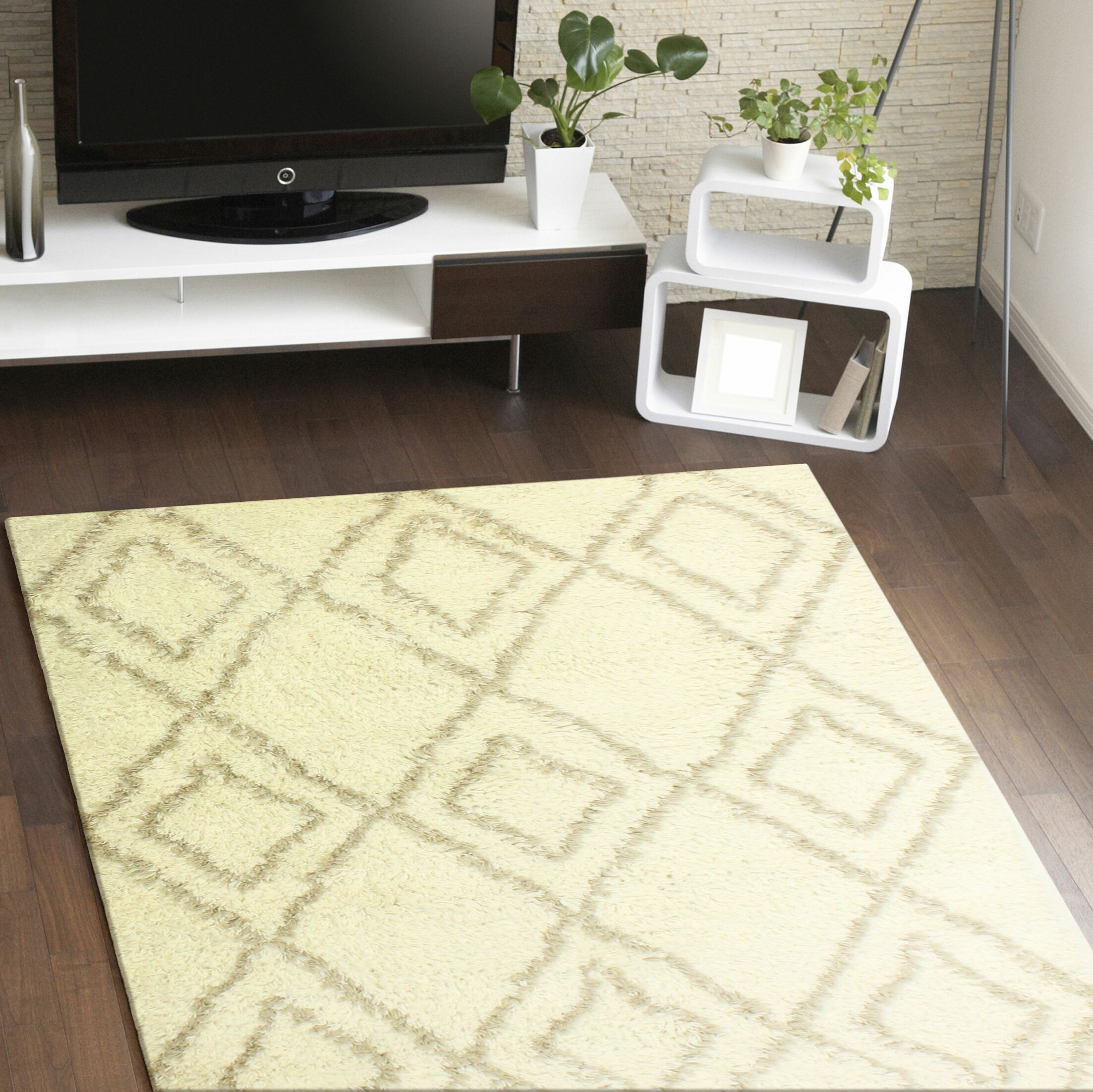 Lavedan Wool Hand-Knotted Ivory/Beige Area Rug Rug Size: 7'6