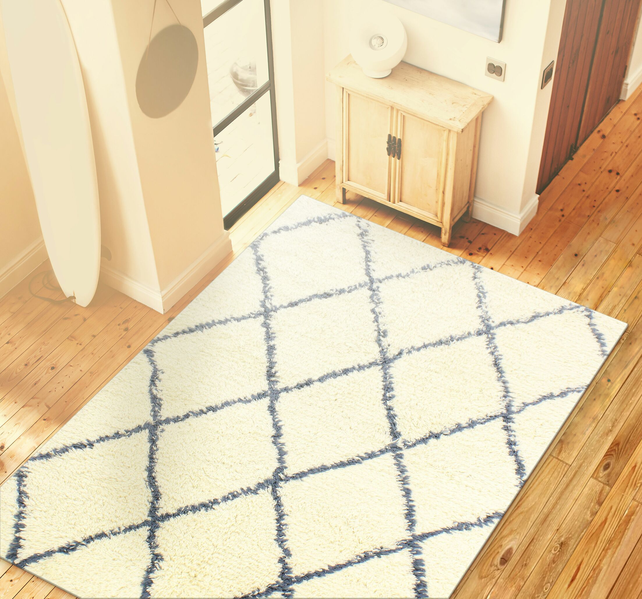 Lavedan Wool Hand-Knotted Ivory/Blue Area Rug Rug Size: Rectangle 3'6