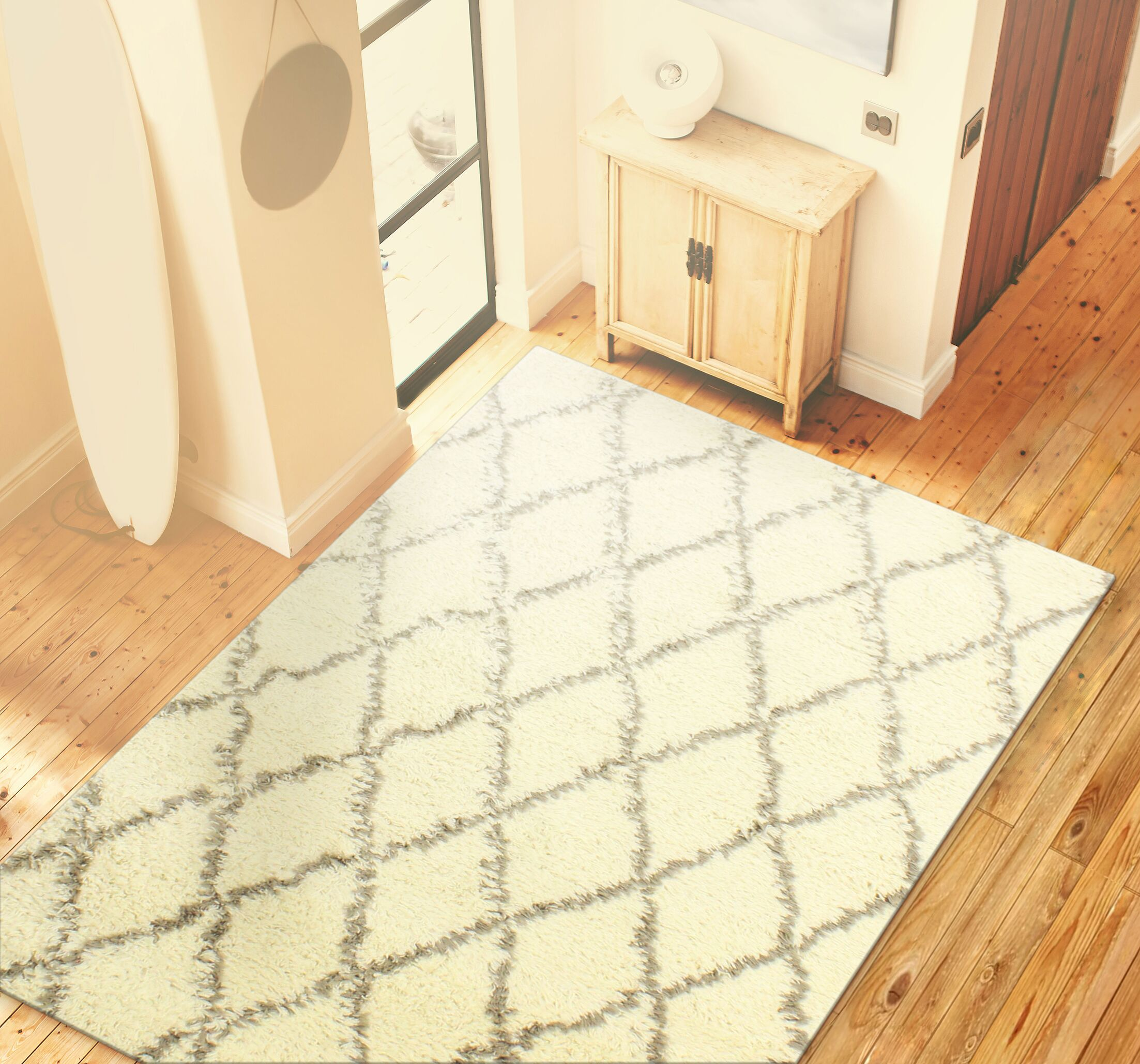 Lavedan Wool Hand-Knotted Ivory/Grey Area Rug Rug Size: 5' x 7'6