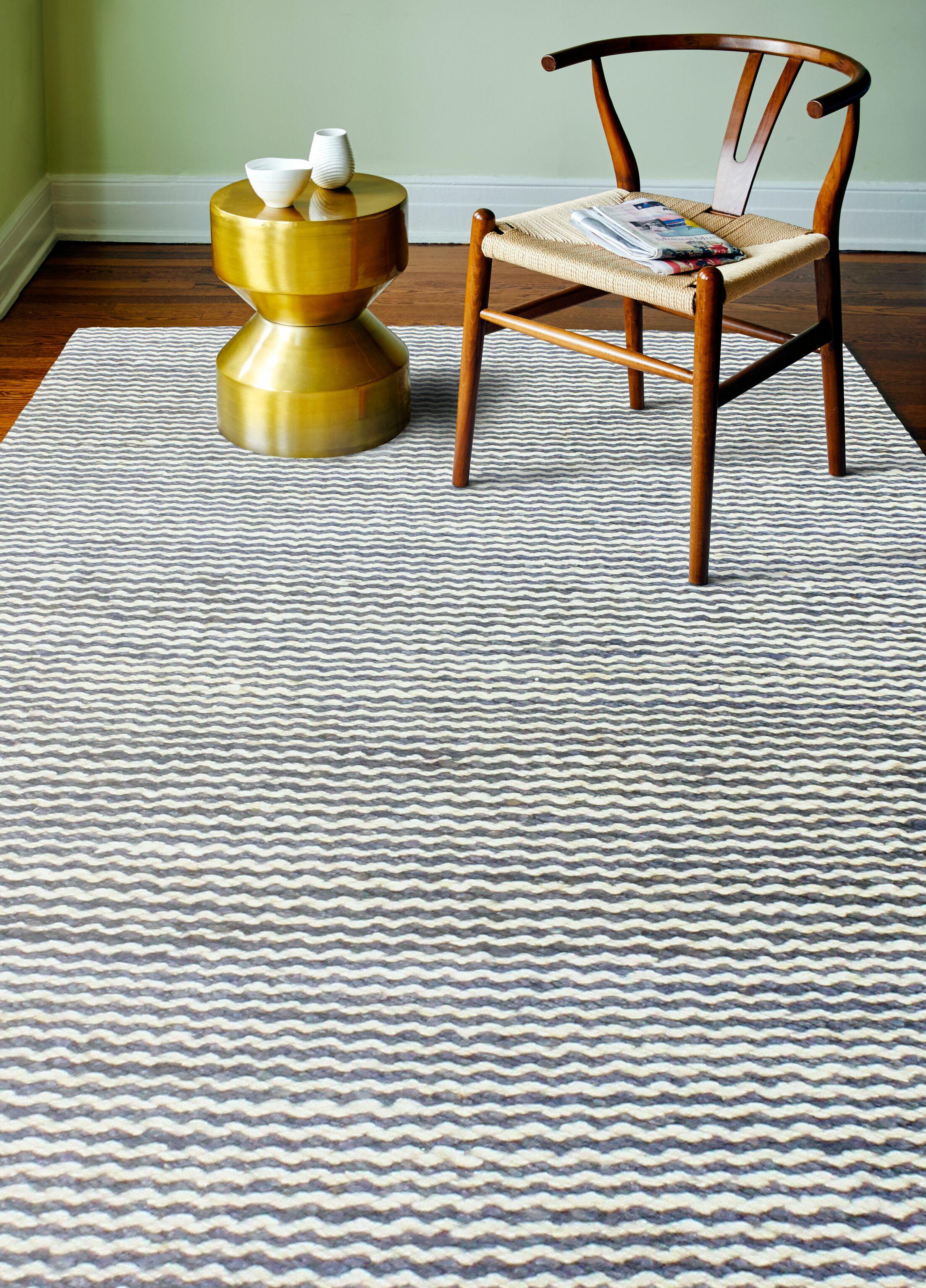 Deaver Hand-Knotted Slate Area Rug Rug Size: 7'6
