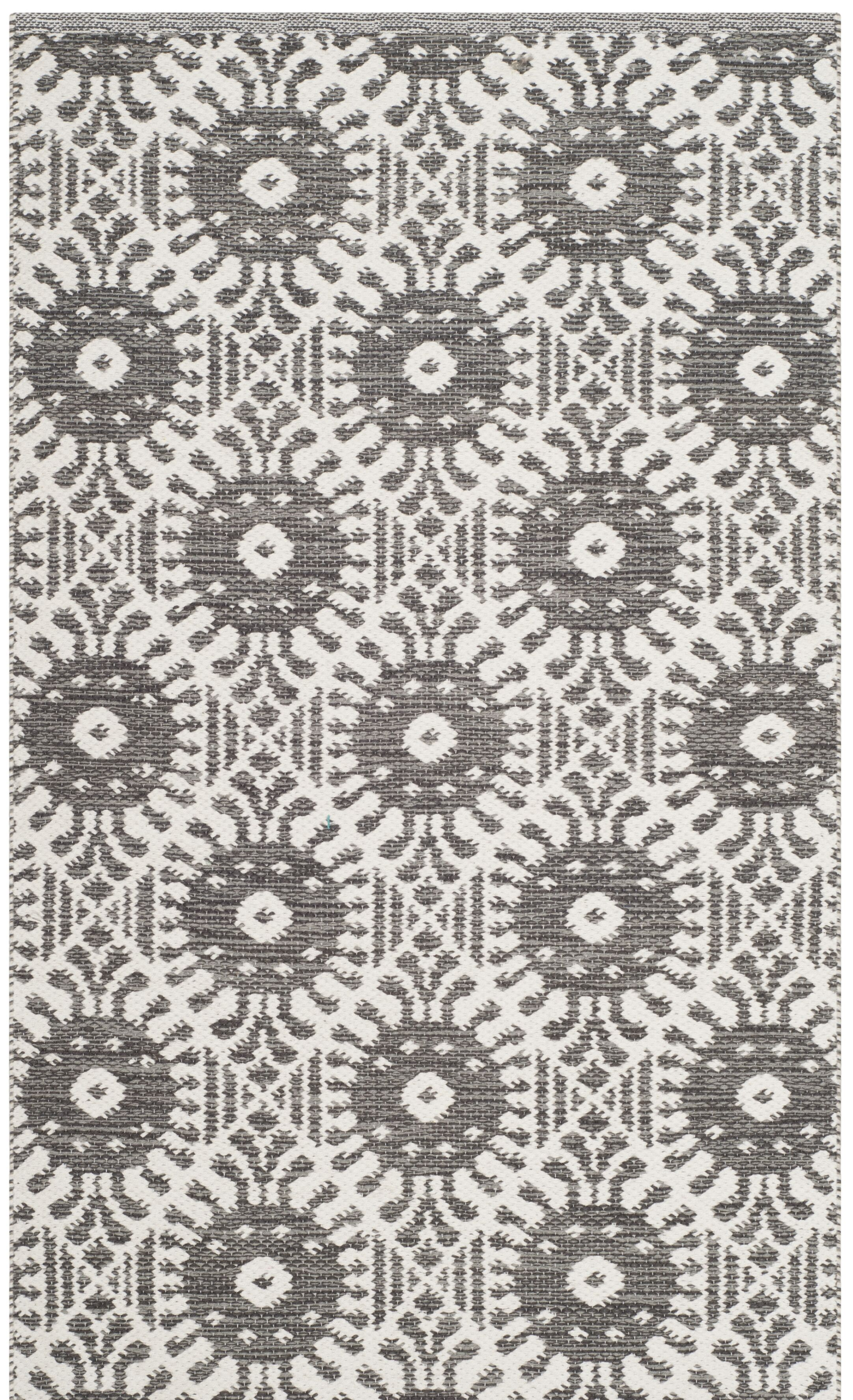 Clemence Hand-Woven Charcoal/Ivory Area Rug Rug Size: Rectangle 8' x 10'