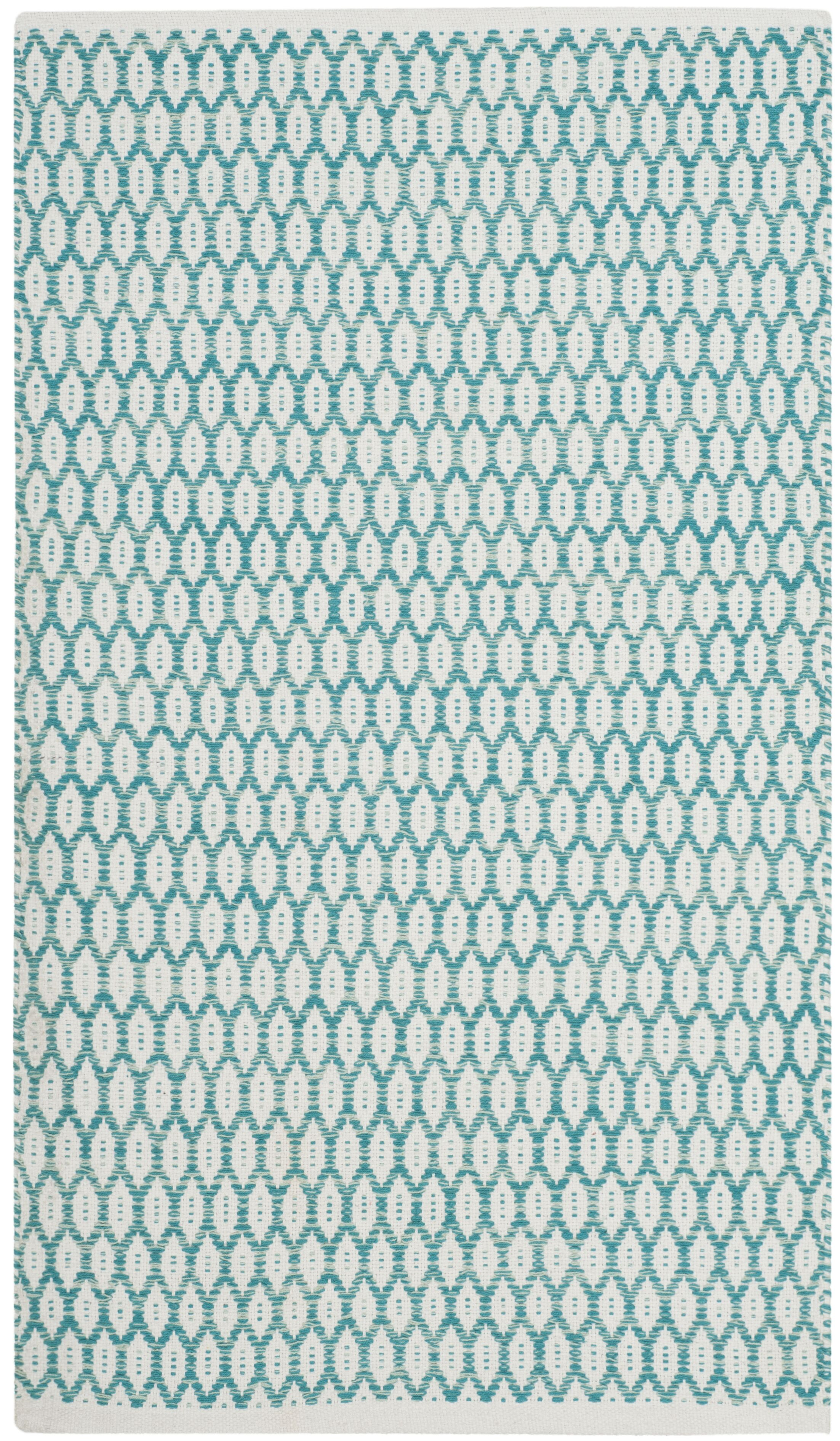 Modena Hand-Woven Aqua/Ivory Area Rug Rug Size: Rectangle 8' x 10'