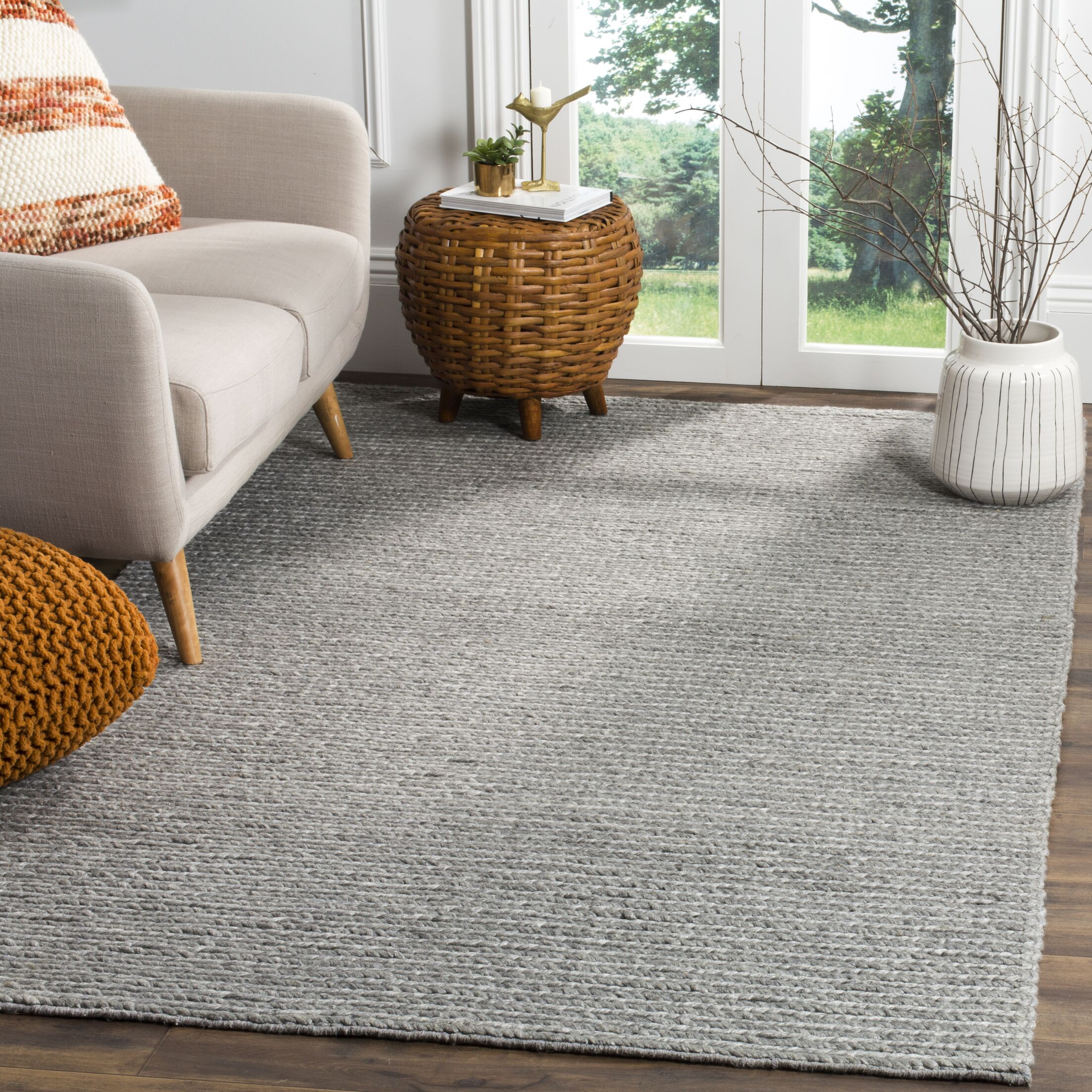 Newville Hand-Tufted Steel Area Rug Rug Size: Square 6'