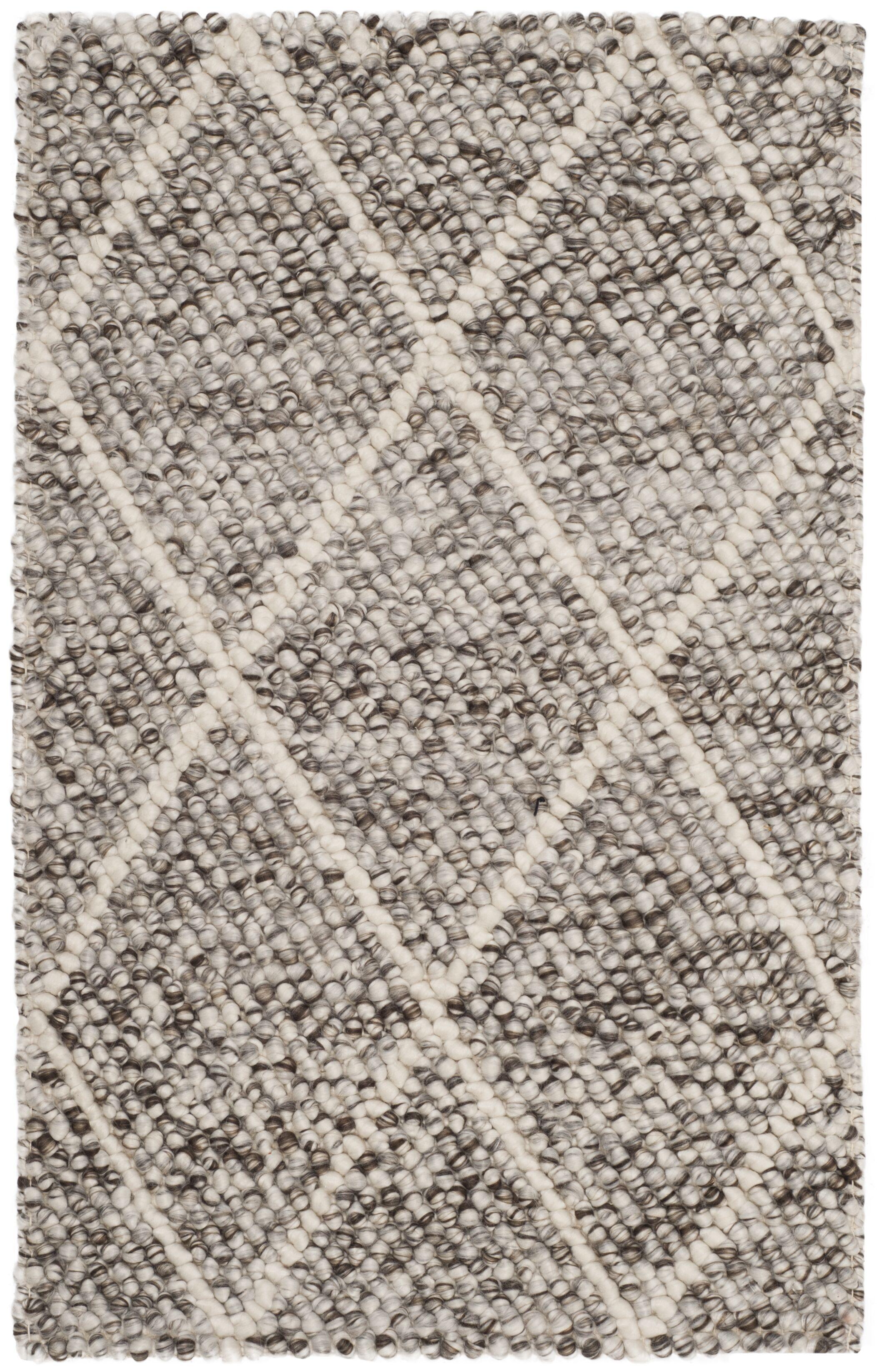Billie Hand-Tufted Ivory/Stone Area Rug Rug Size: Round 6'