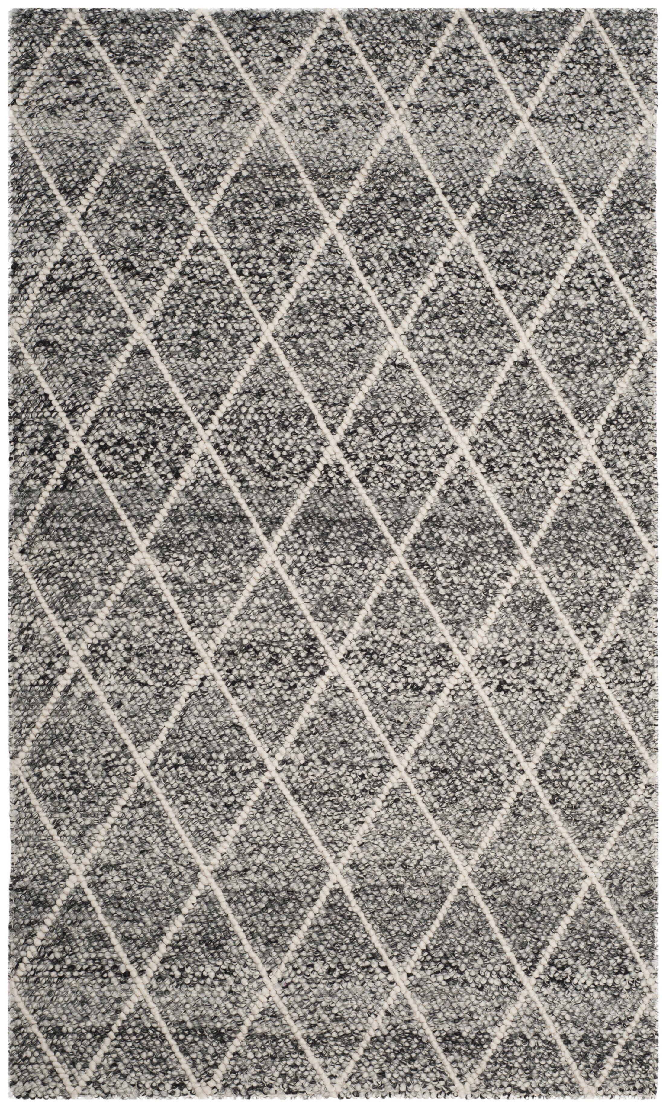 Billie Hand-Tufted Ivory/Black Area Rug Rug Size: Square 6'