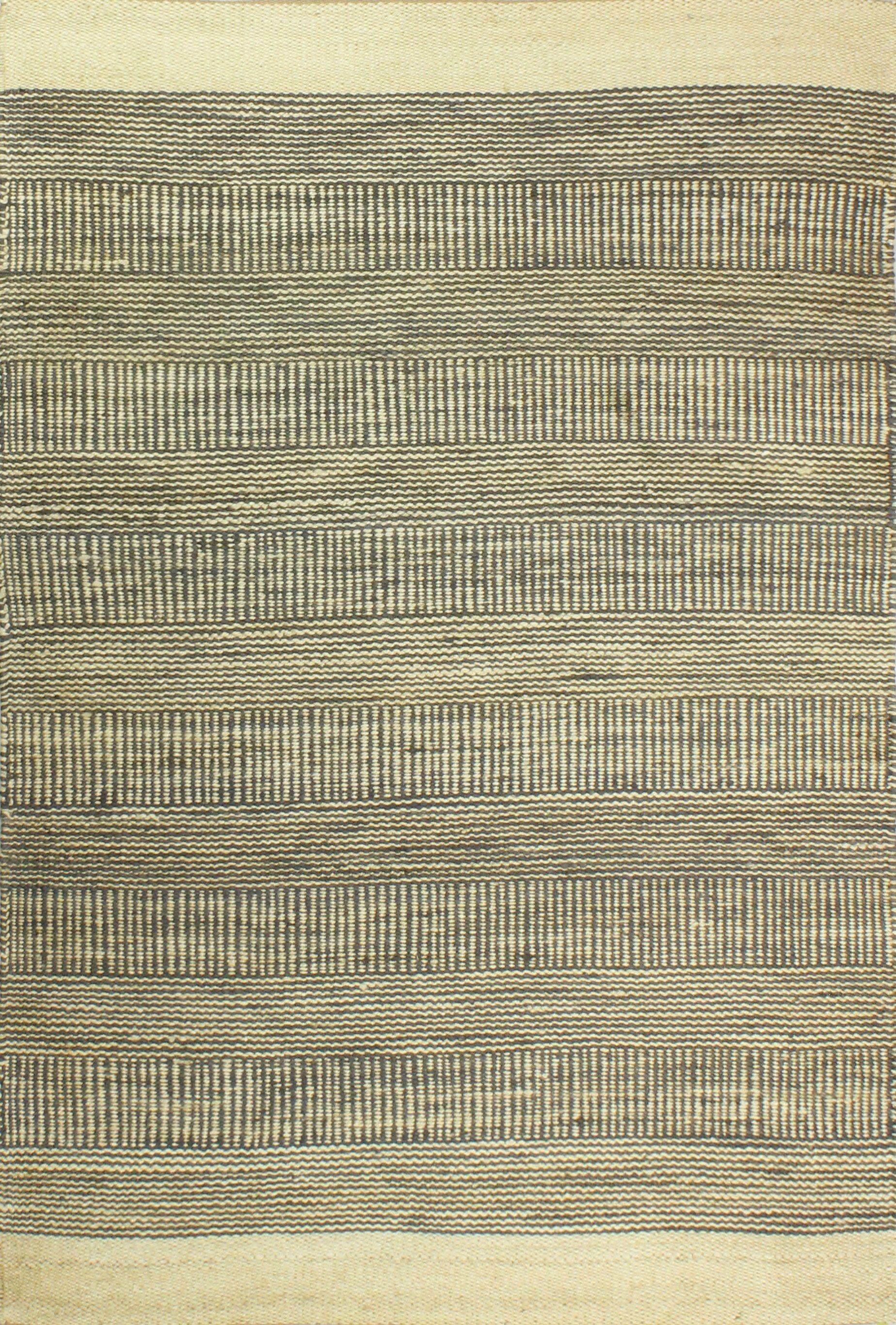 Hodge Hand-Knotted Cream/Slate Area Rug Rug Size: 5' x 7'6