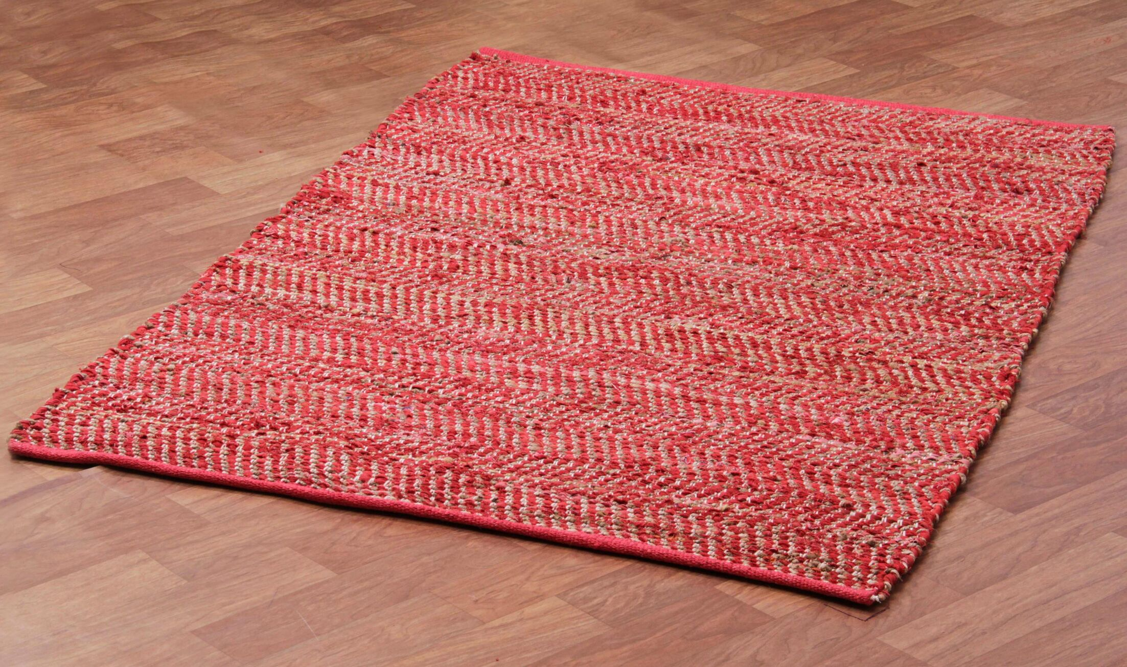 Synthia Hand Woven Cotton Red/Green/Tan Area Rug Rug Size: 5' x 8'