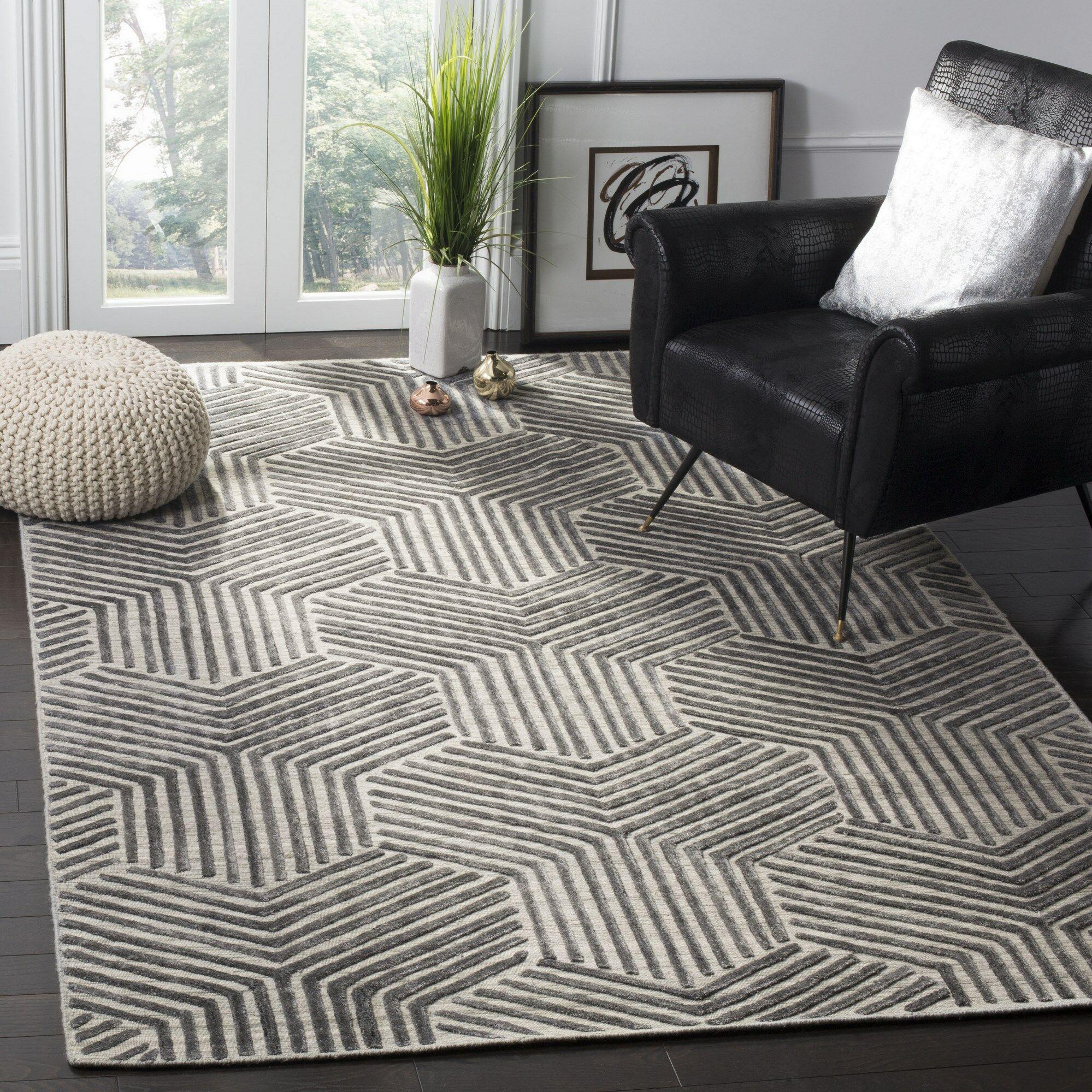 Driftwood Hand-Woven Light Gray/Charcoal Area Rug Rug Size: Rectangle 6' x 9'