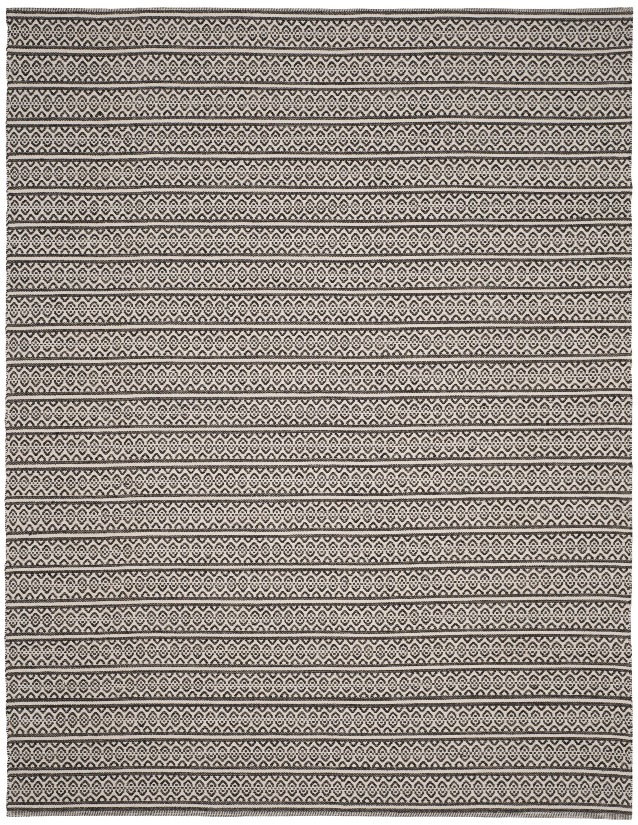 Oxbow Hand-Woven Cotton Ivory/Black Area Rug Rug Size: Rectangle 10' x 14'