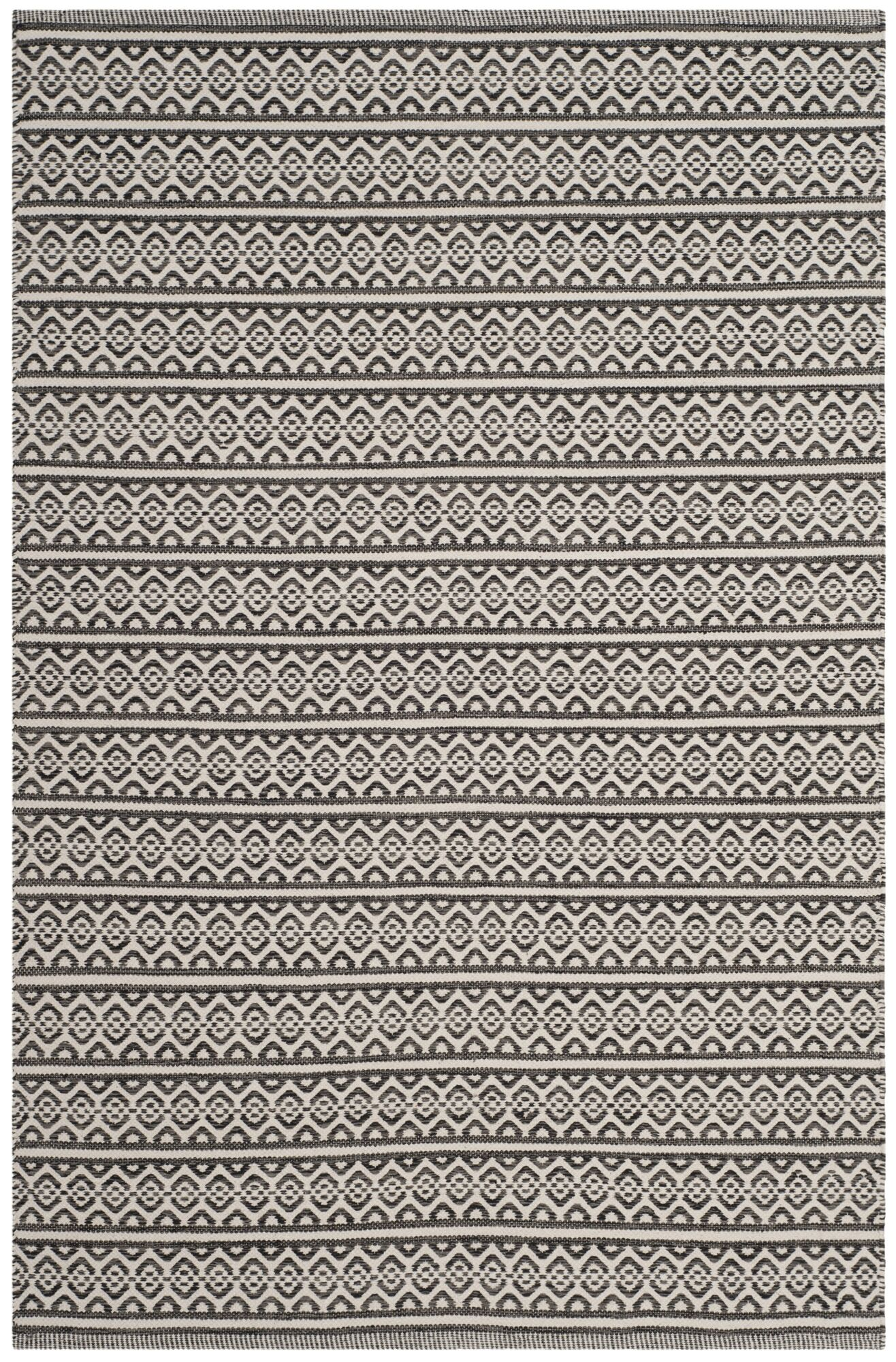 Oxbow Hand-Woven Cotton Ivory/Black Area Rug Rug Size: Rectangle 4' x 6'