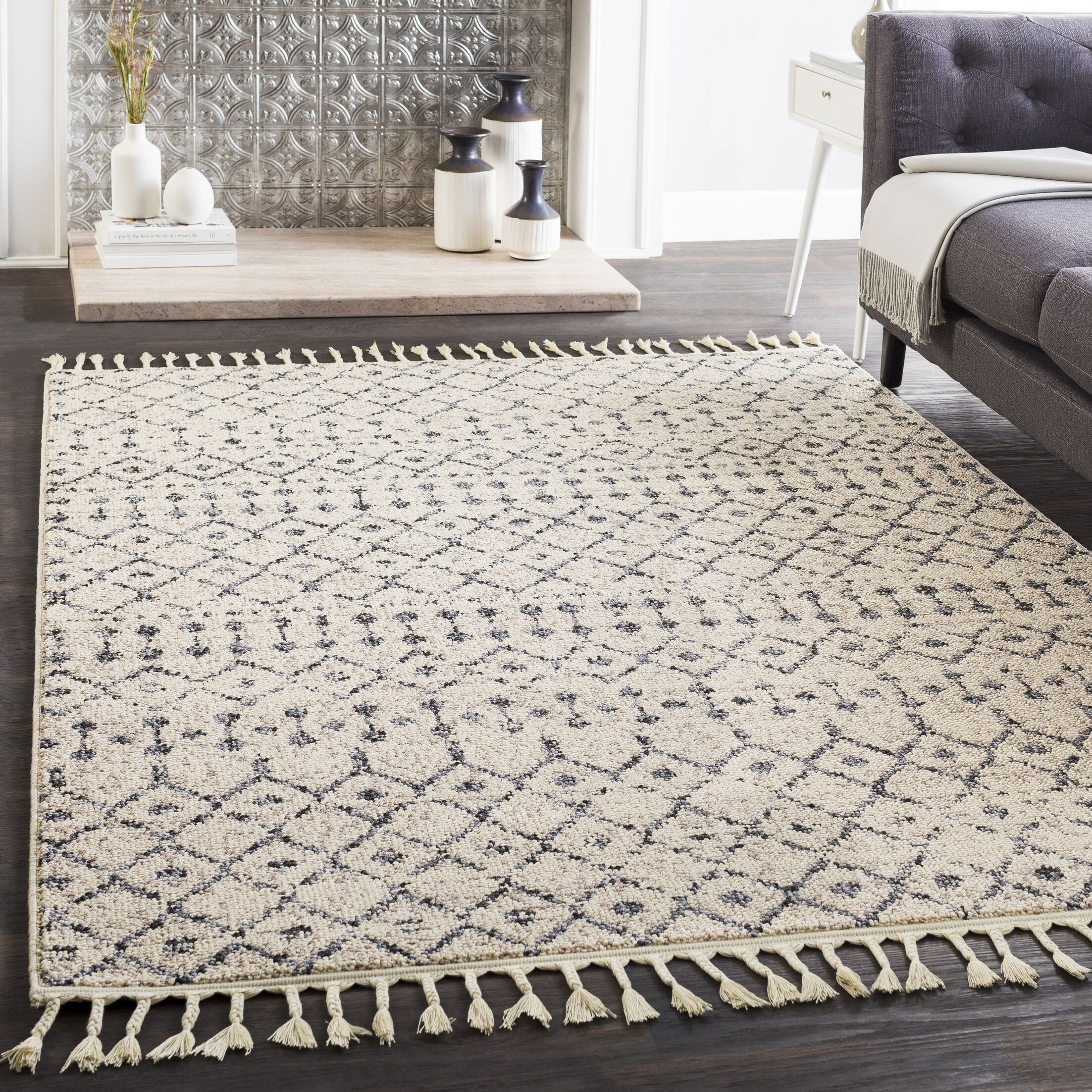 Hudgens Distressed Southwestern Ivory/Charcoal Area Rug Rug Size: Rectangle 7'10