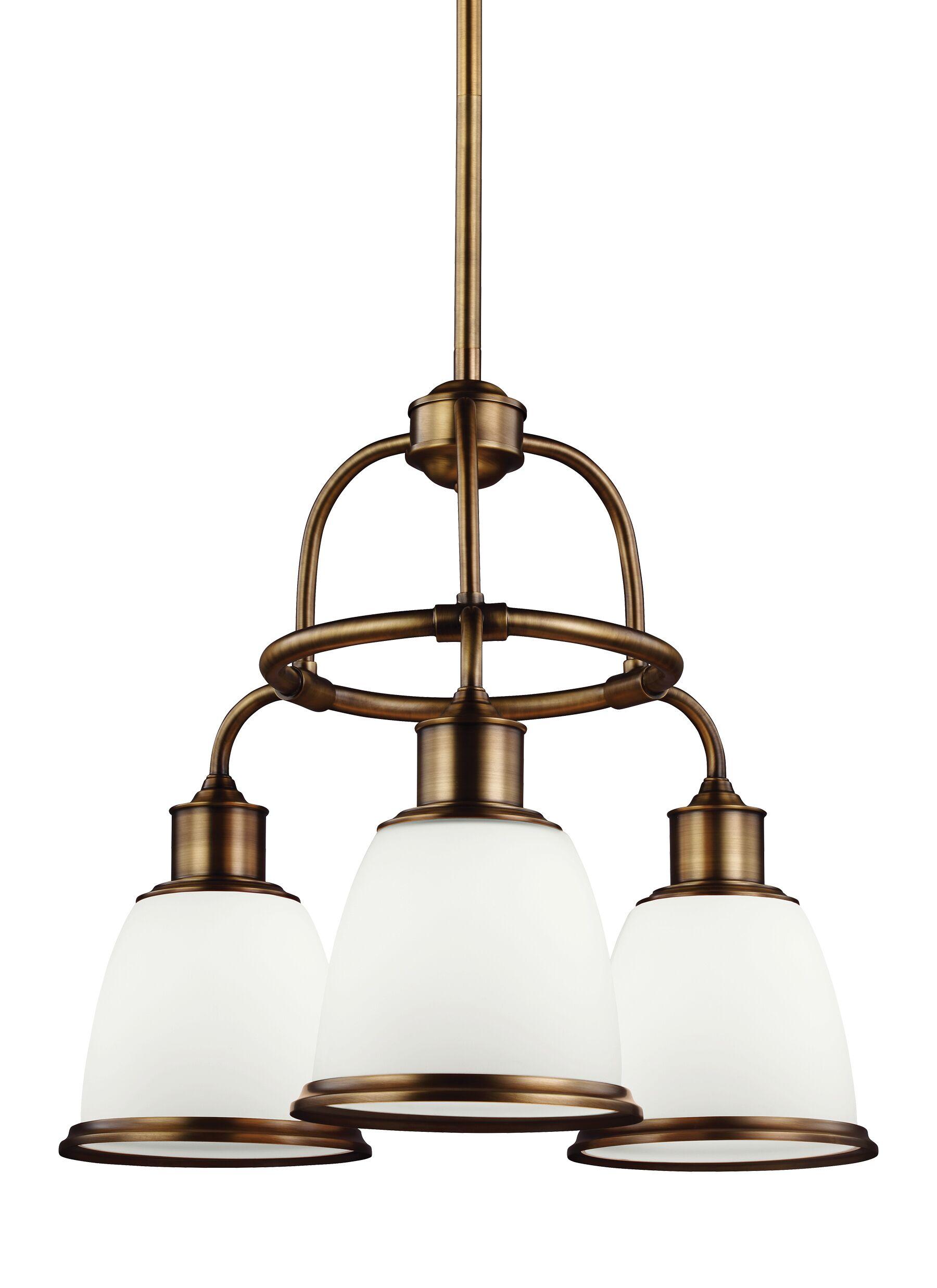 Celestine 3-Light Shaded Chandelier Finish: Aged Brass