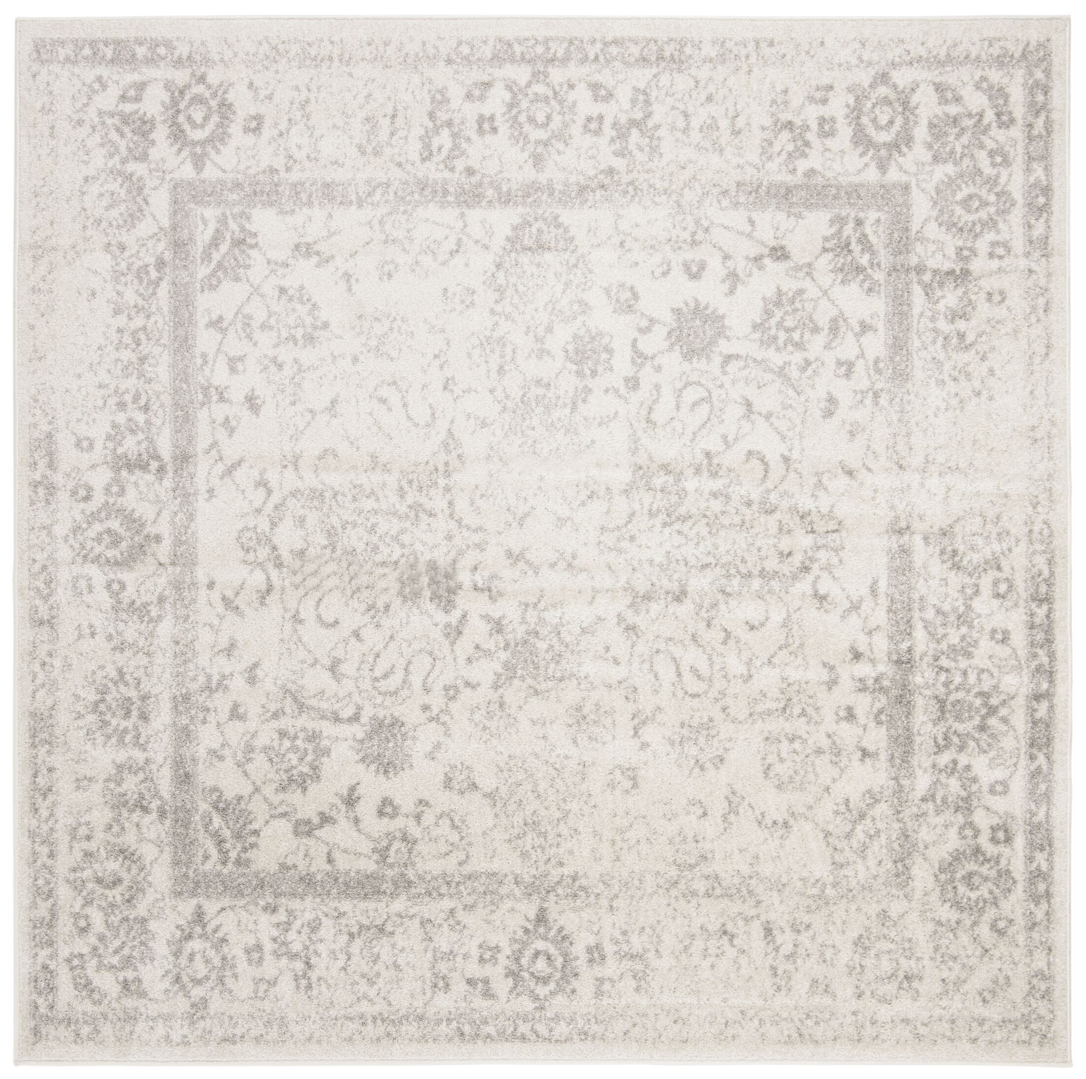 Power Loom Aiken Ivory/Silver Area Rug Rug Size: Square 6'7