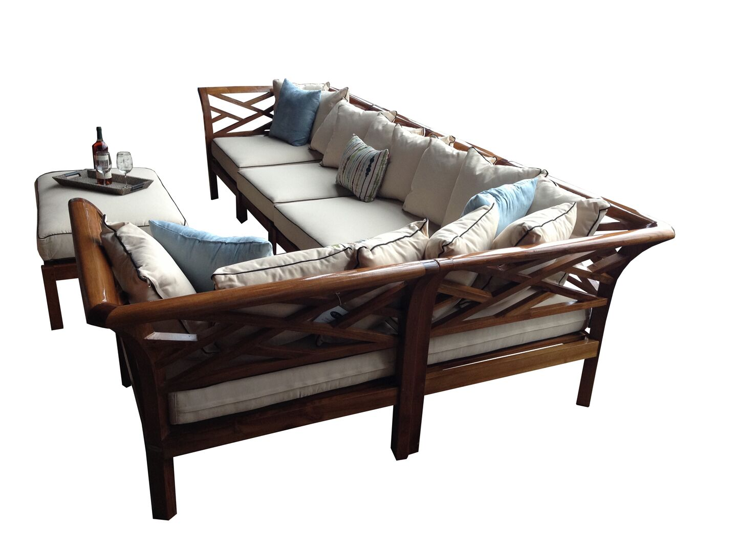 Long Island Teak Patio Sectional with Cushions