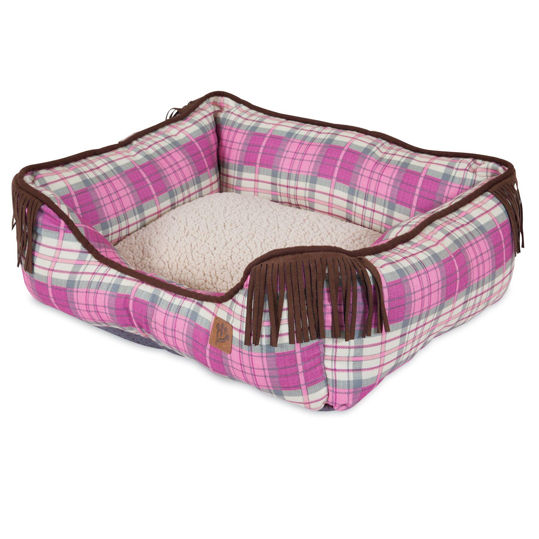 Lambswool Corner Fringe Printed Lounger Bolster Dog Bed