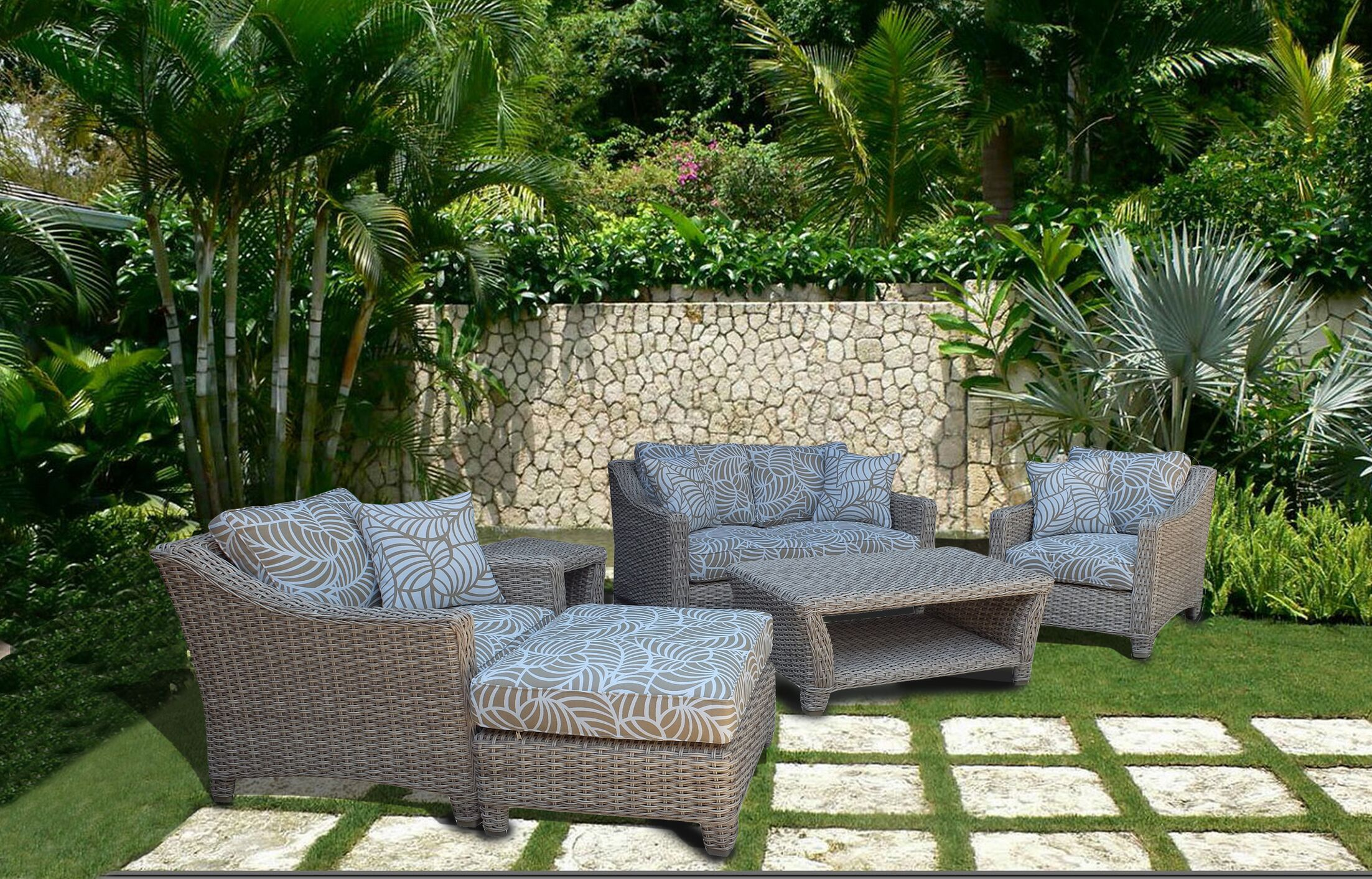 Galen 6 Piece Rattan Sofa Set with Cushions